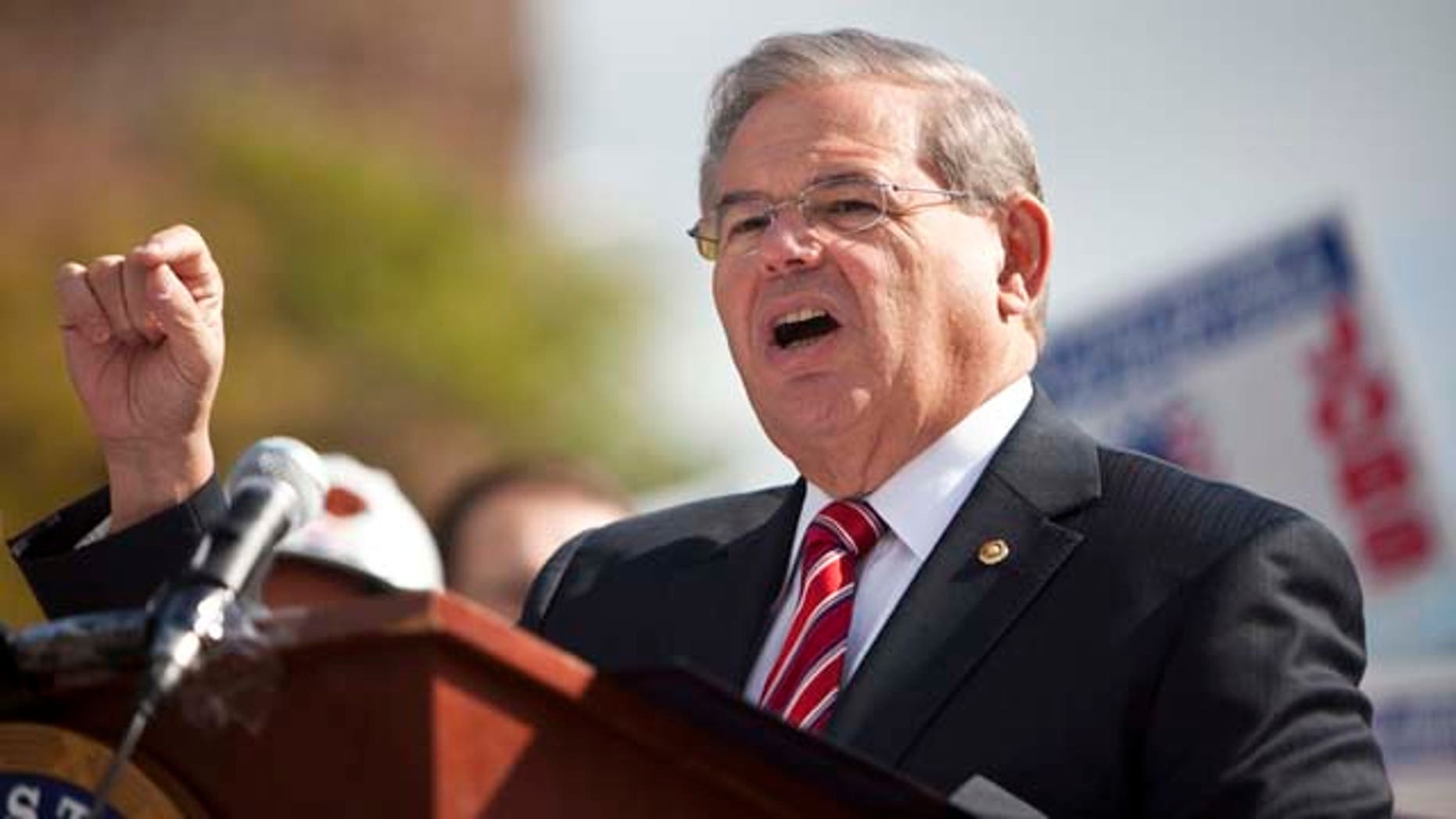 Sen. Robert Menendez (D-NJ) speaks to a group of labor unions during a rally last year in North Bergen, New Jersey.