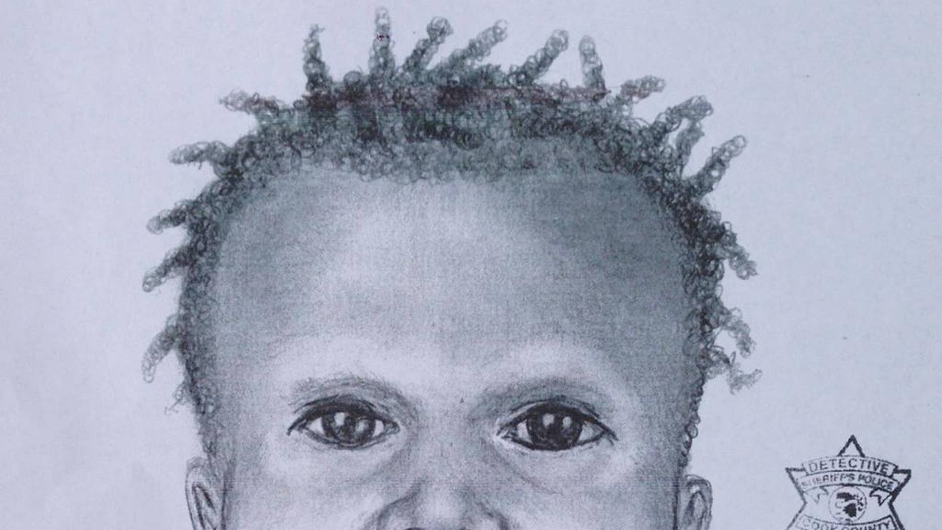 This composite sketch released Thursday, Sept. 10, 2015, by the Chicago Police Department shows a toddler whose dismembered remains were found in a lagoon in Garfield Park.(Chicago Police Department via AP)