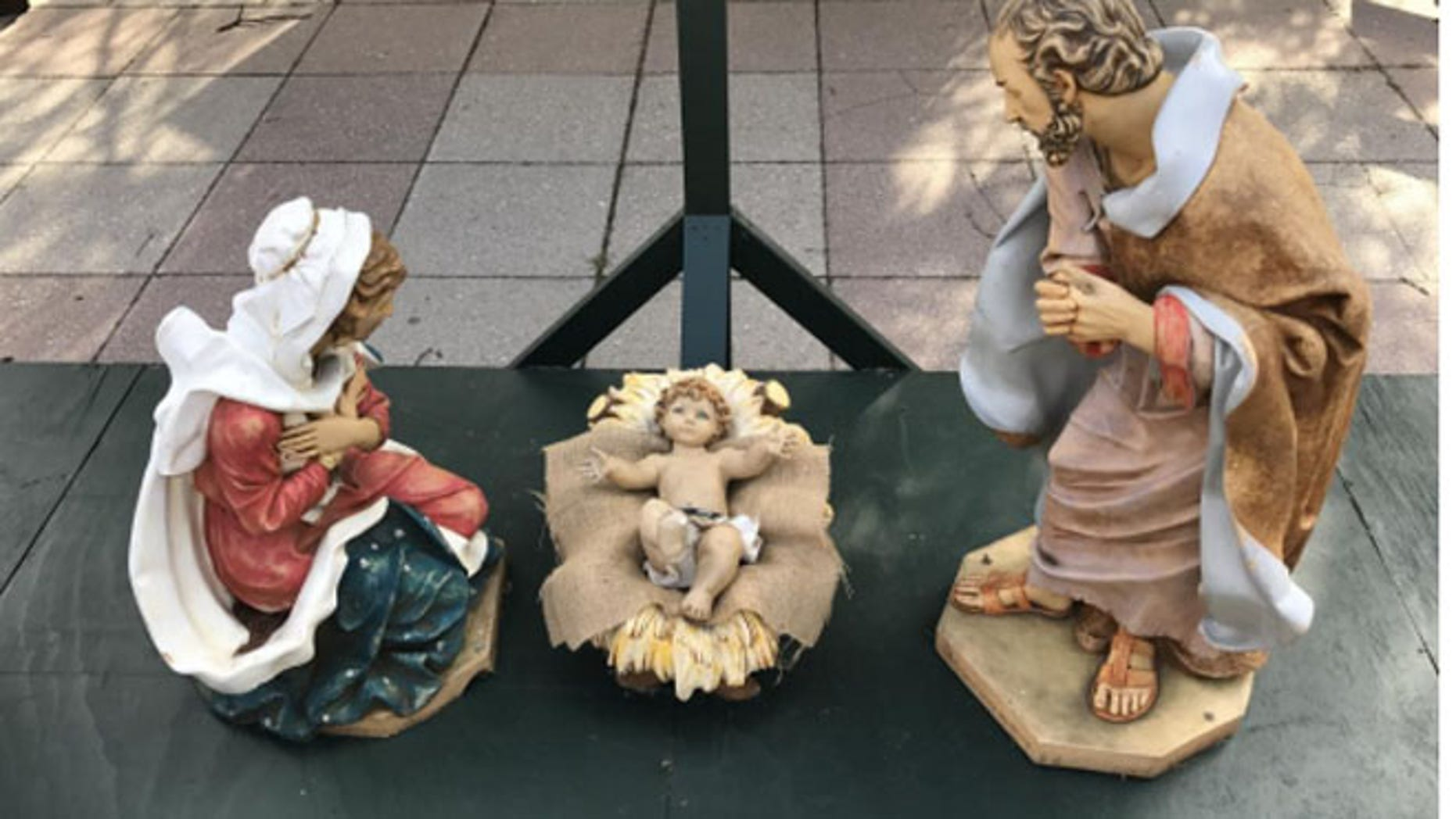 The Nativity scene in Bethlehem's Payrow Plaza. (Bethlehem Police Department)