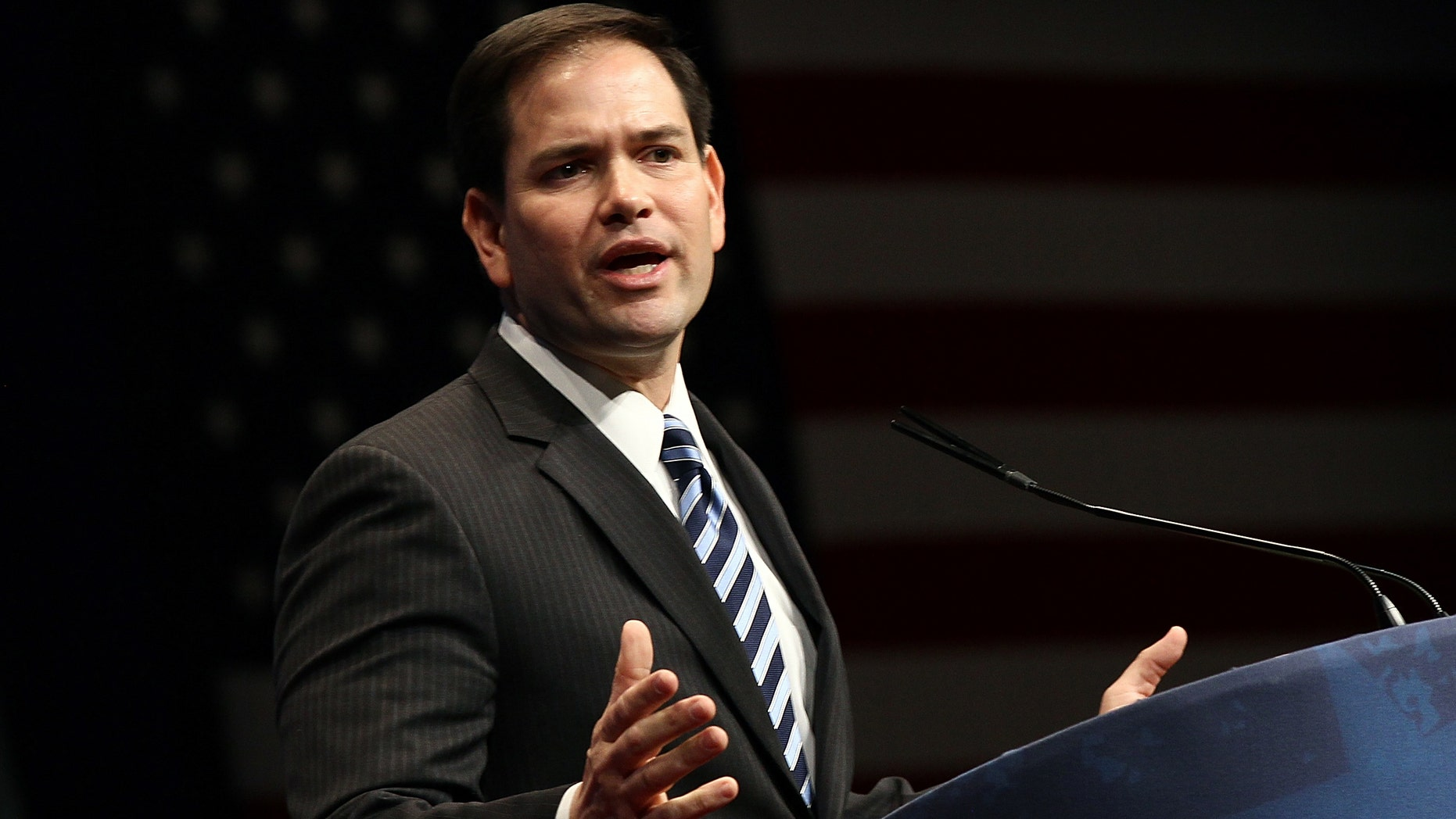 """WASHINGTON, DC - FEBRUARY 09:  Sen. Marco Rubio (R-FL) delivers a speech titled, """"Is America Still an Exceptional Nation?"""" during the annual Conservative Political Action Conference (CPAC) February 9, 2012 in Washington, DC. Thousands of conservative activists are expected to attend the annual gathering in the nation's capital.  (Photo by Win McNamee/Getty Images)"""