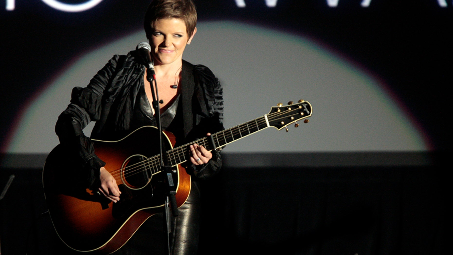 """Musician Natalie Maines of the Dixie Chicks performs Carly Simon's """"That's The Way I've Always Heard It Should Be"""" at the 29th Annual ASCAP Pop Music Awards in Hollywood, California April 18, 2012."""