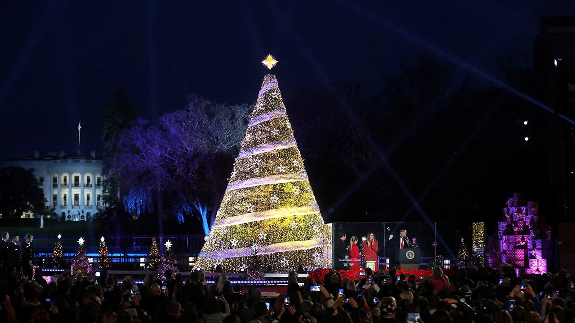 The Christmas tree lighting in Washington, D.C.