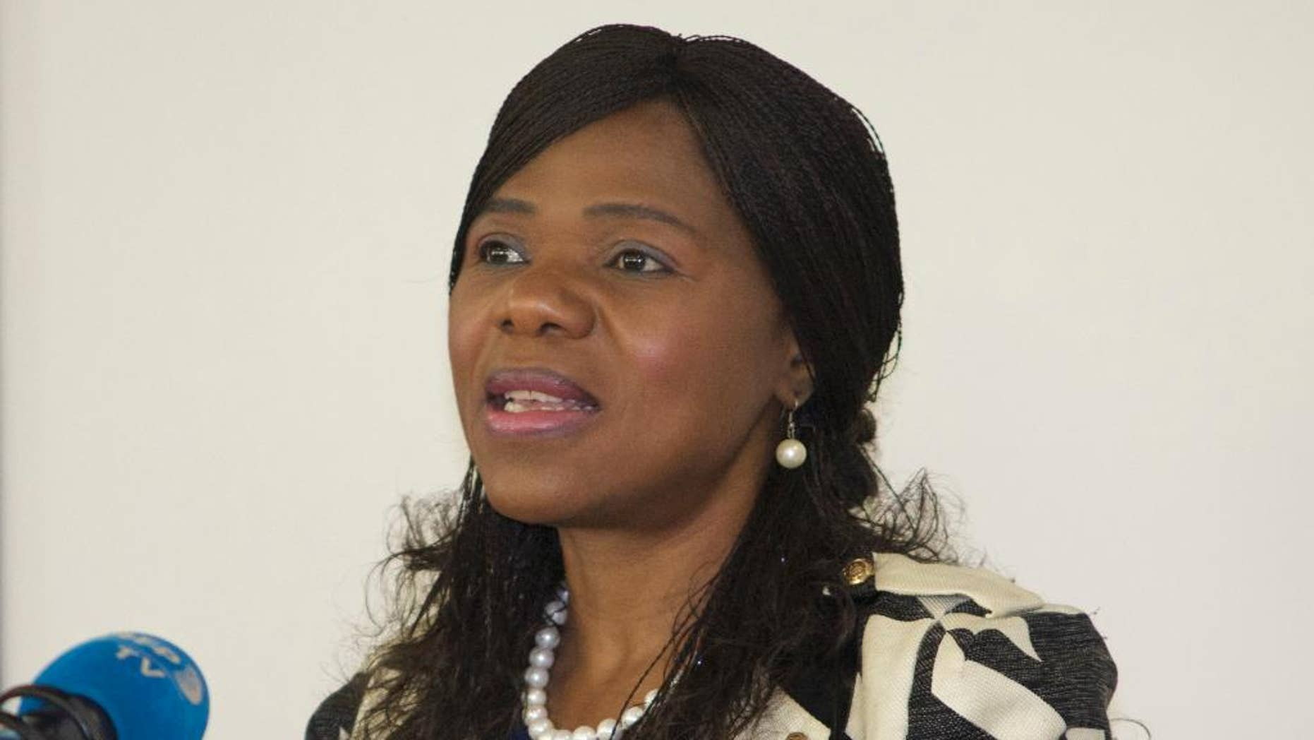 Public Protector, Thuli Madonsela, addresses journalists in Johannesburg, Tuesday, June 7, 2016. Madonsela, whose term ends in October, said that she has asked the government for more resources to investigate allegations that a wealthy Indian business family influenced President Jacob Zuma's choice of Cabinet ministers. (AP Photo/Stuart Graham)