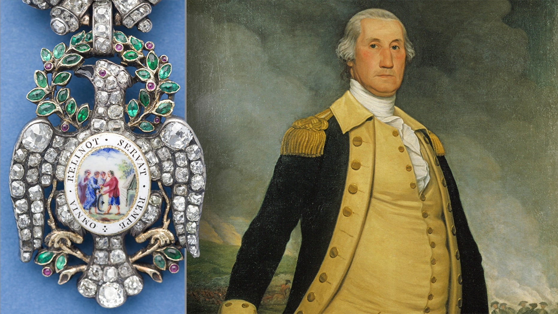 The Diamond Eagle medal (© The Society of the Cincinnati) and portrait of George Washington by Joseph Wright, 1784. (Courtesy of the Philadelphia History Museum at the Atwater Kent, the Historical Society of Pennsylvania Collection)