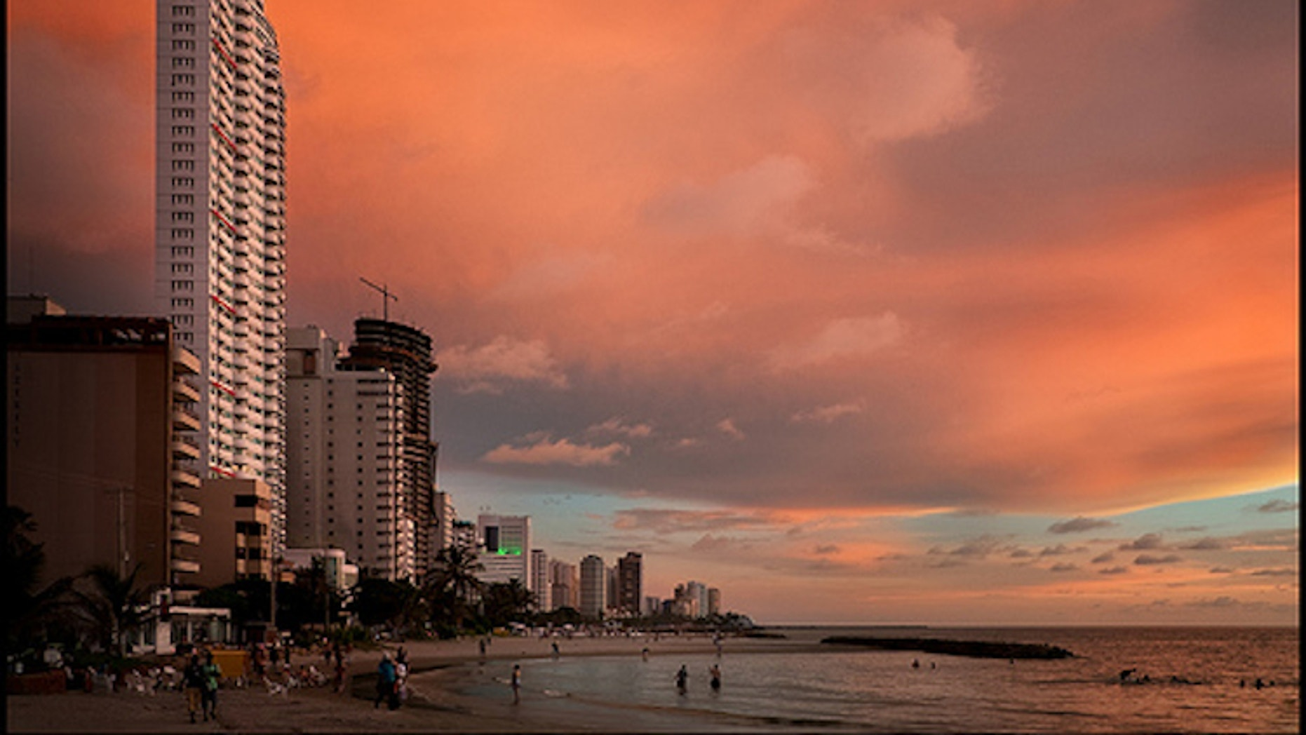 Bocagrande (big mouth) is one of the tourist beaches of Cartagena.