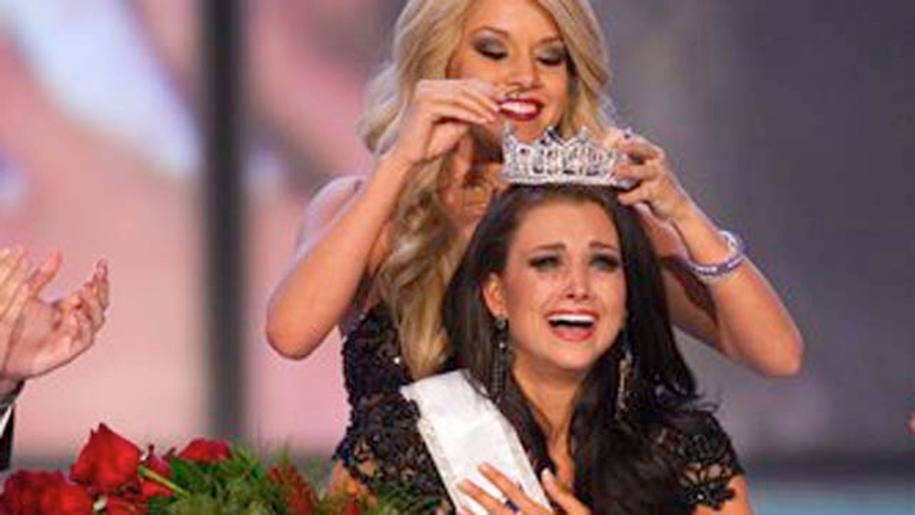 January 14, 2012: Miss Wisconsin Laura Kaeppeler reacts after being crowned Miss America.