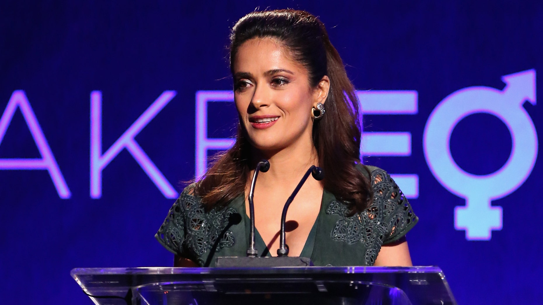 """BEVERLY HILLS, CA - NOVEMBER 03:  Honoree Salma Hayek speaks onstage during The Equality Now's """"Make Equality Reality"""" Event at Montage Beverly Hills on November 3, 2014 in Beverly Hills, California.  (Photo by Jonathan Leibson/Getty Images for Equality Now)"""