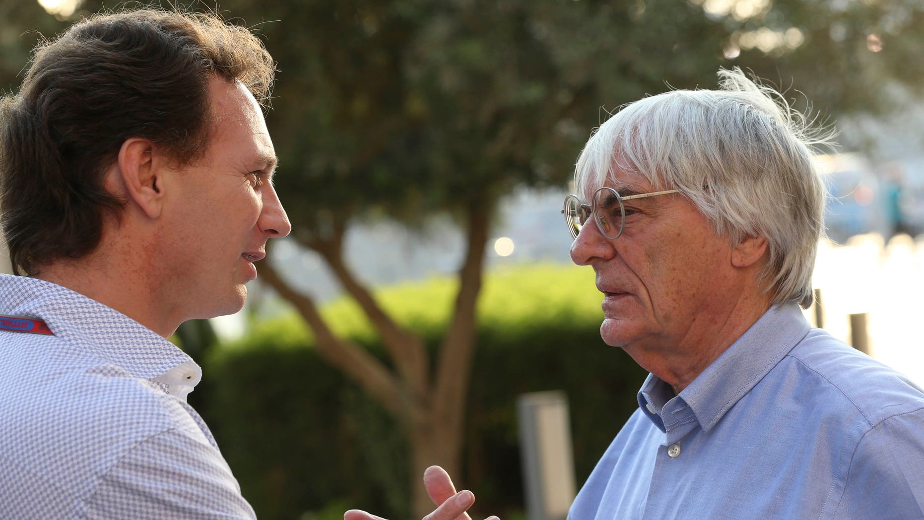 "FILE - In this Thursday, Nov. 1, 2012 file photo, Red Bull team principal Christian Horner, left, talks with Bernie Ecclestone, president and CEO of Formula One Management, at the Yas Marina racetrack in Abu Dhabi, United Arab Emirates. With Ecclestone's Formula One future in doubt amid bribery allegations, one of the most influential team bosses on Wednesday, Jan. 15, 2014 said the series' prosperity relies on him remaining in charge. Christian Horner, team principal of reigning constructors' champion Red Bull, believes Ecclestone is ""the only guy"" who can ensure F1 maintains its global reach as the premier motorsport series. (AP Photo/Luca Bruno, File)"