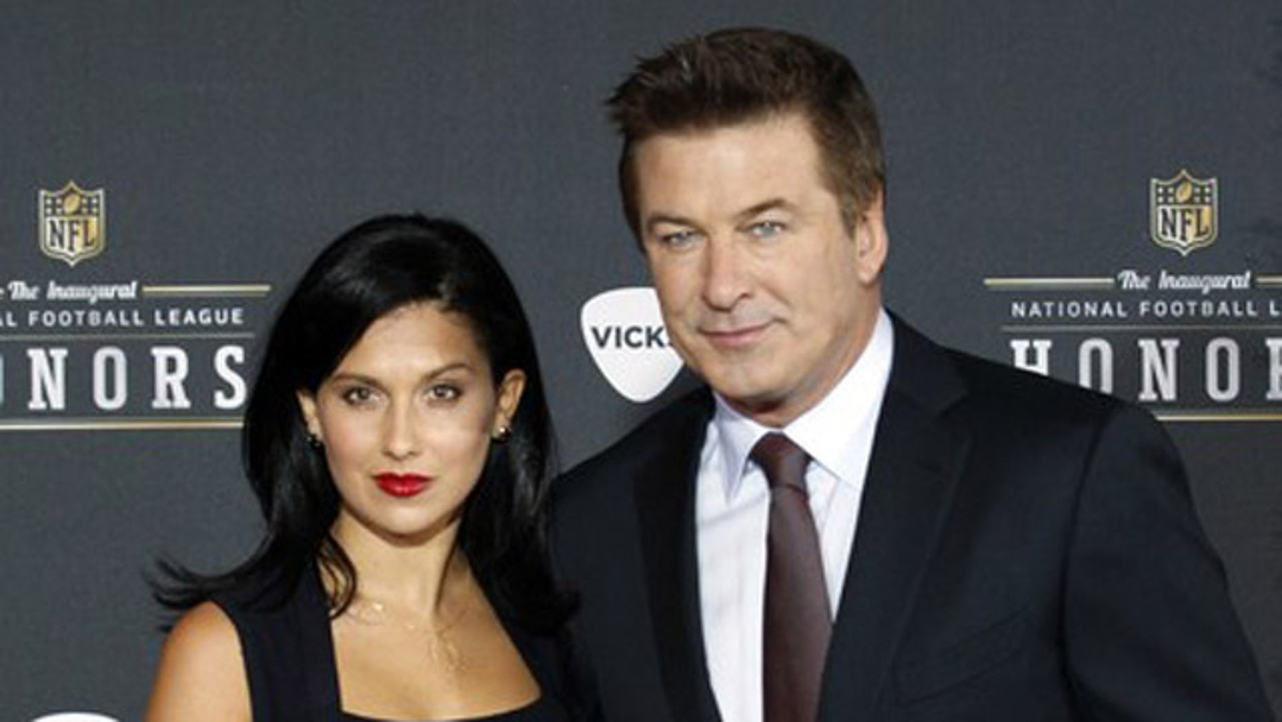 Feb. 4, 2012: Host Alec Baldwin and girlfriend Hilaria Thomas arrive for the Inaugural National Football League Honors at Super Bowl XLVI in Indianapolis, Indiana.