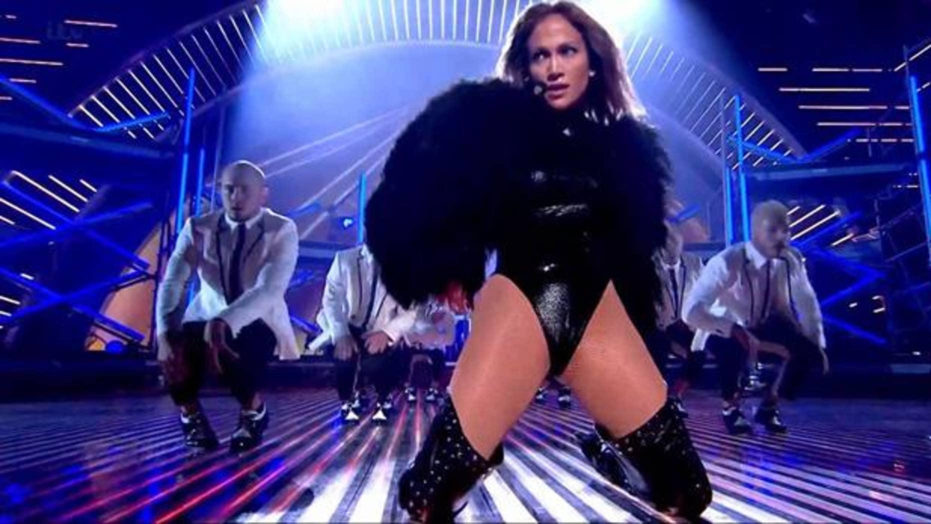 "Jennifer Lopez performs her new single ""Live It Up"" on Britain's Got Talent."
