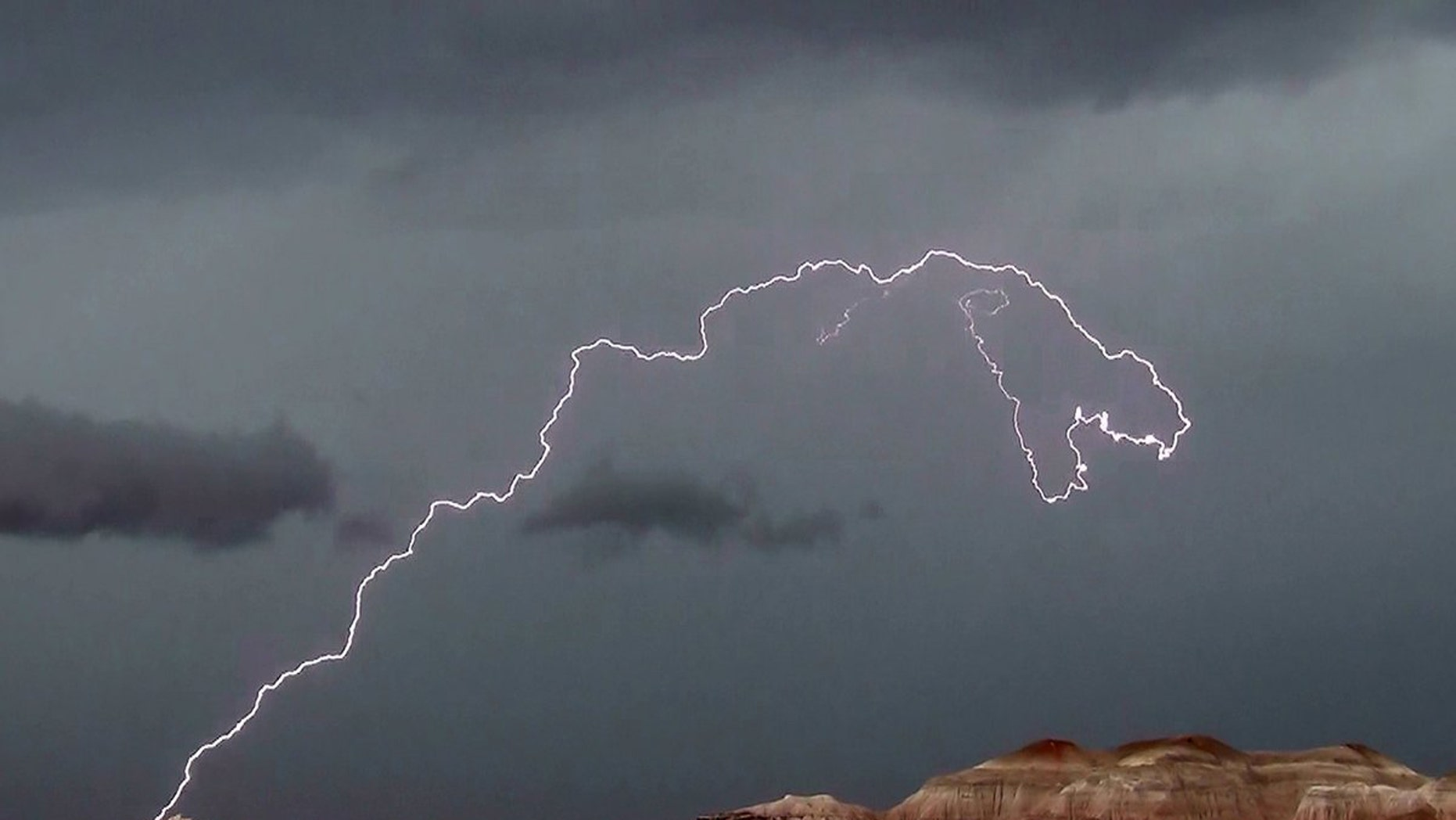 Lightning in Petrified Forest National Park in Arizona on July 26, 2013.