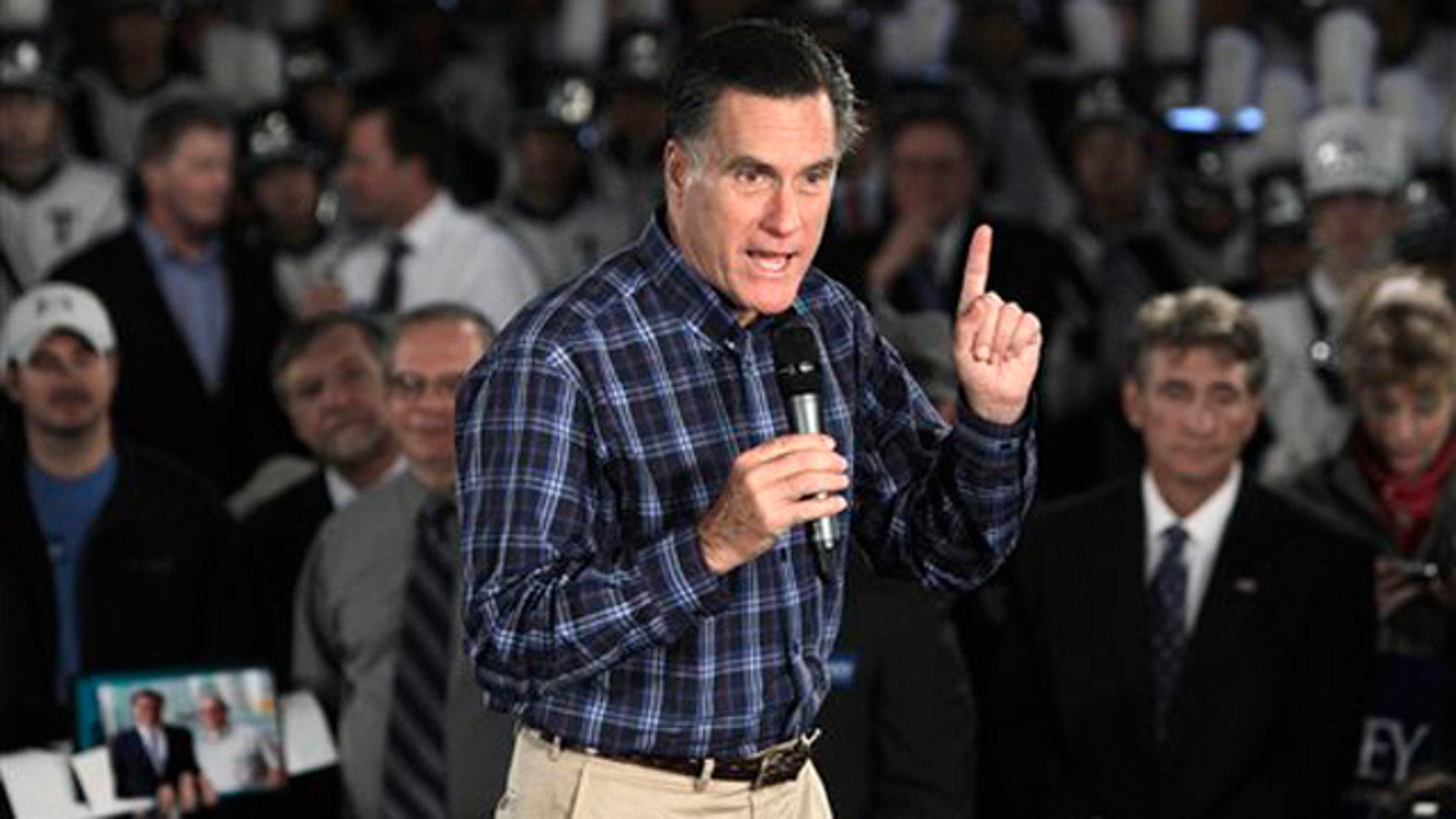 Nov. 10, 2011: Former Massachusetts Gov. Mitt Romney speaks at the American Polish Cultural Center in Troy, Mich.