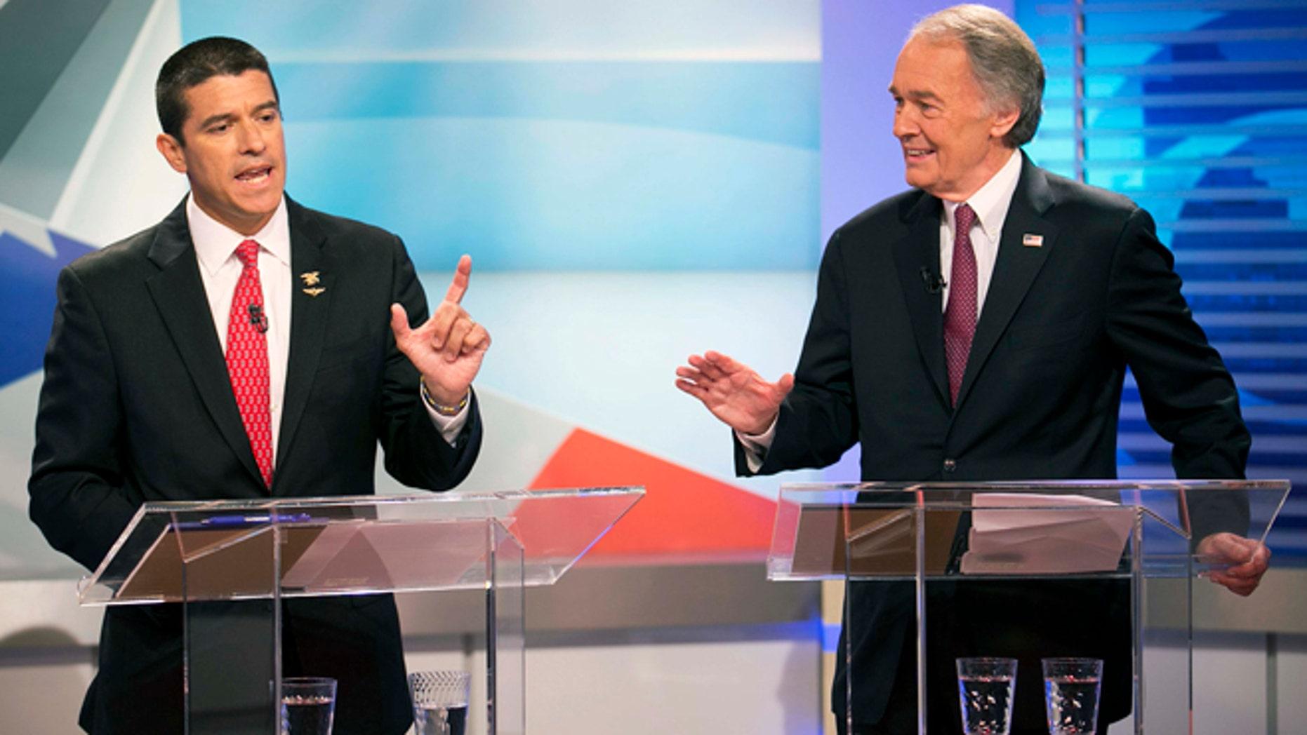U.S. Senate candidate Republican Gabriel Gomez, left, Democrat Edward Markey, right, in their first debate on June 5, 2013 in Brighton, Mass.
