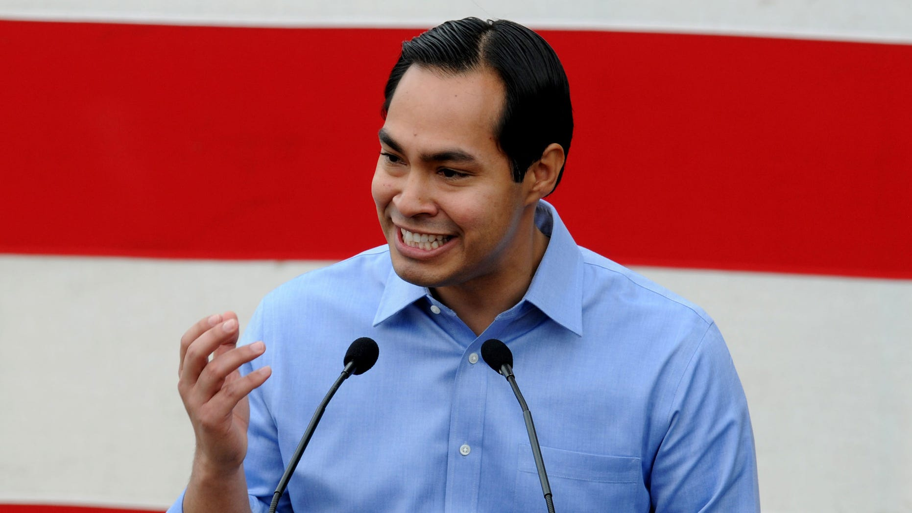 INDIANOLA, IOWA - SEPTEMBER 15: San Antonio Mayor Julian Castro speaks at the 36th Annual Harkin Steak Fry on September 15, 2013 in Indianola, Iowa. Sen. Harkin's Democratic fundraiser is one of the largest in Iowa each year. (Photo by Steve Pope/Getty Images)