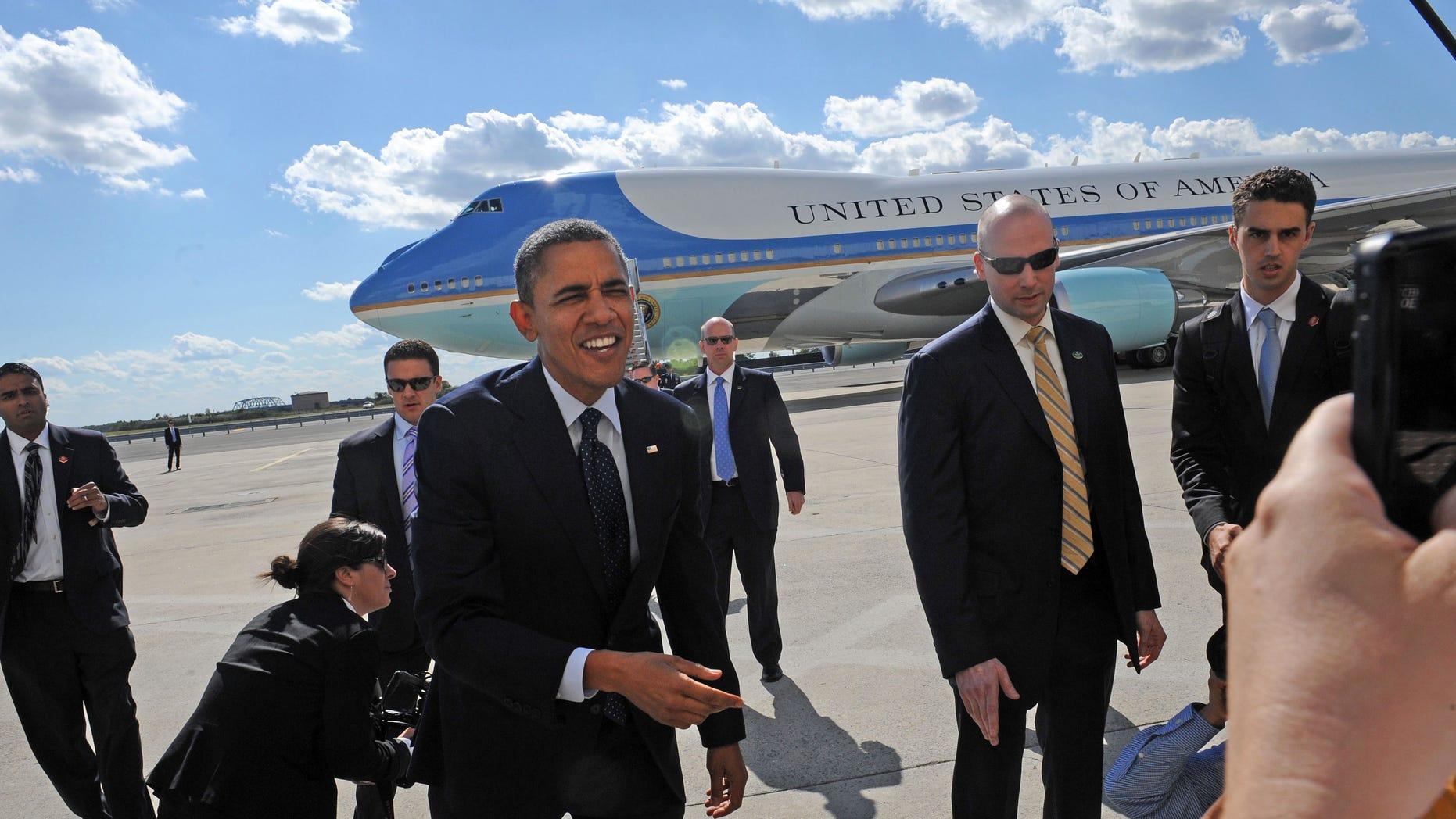 FILE: Sept. .24, 2012: President Barack Obama arrives at JFK International Airport in New York.