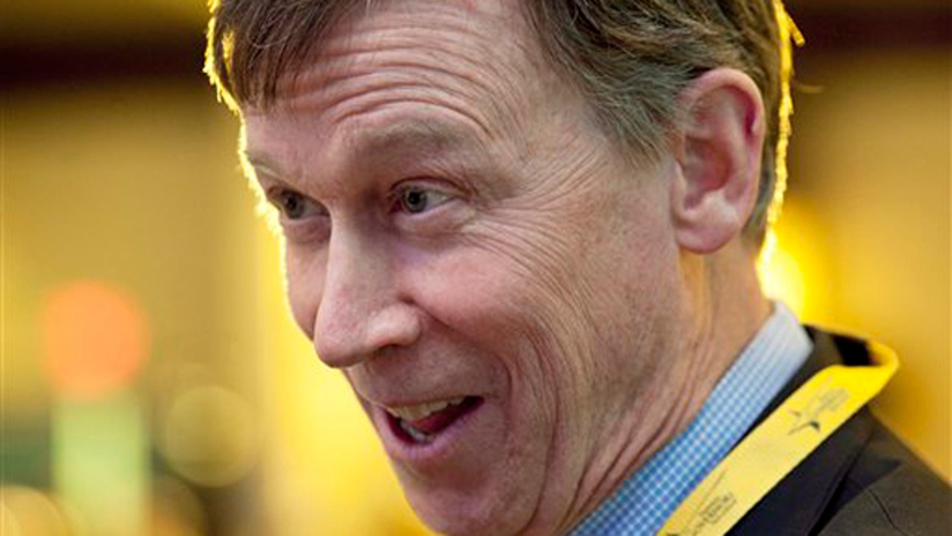 FILE:Feb. 25, 2012: Colorado Gov. John Hickenlooper, D, is shown at the National Governors Association winter meeting in Washington.
