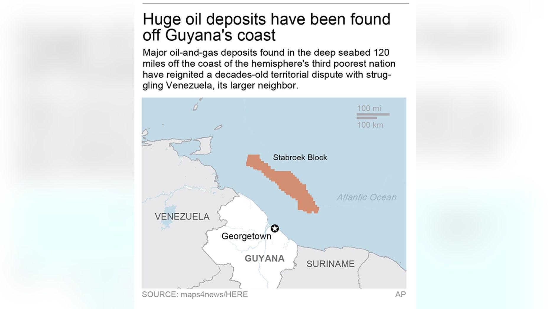 Map locates Stabroek block off Guyana coast; 2c x 3 inches; 96.3 mm x 76 mm;
