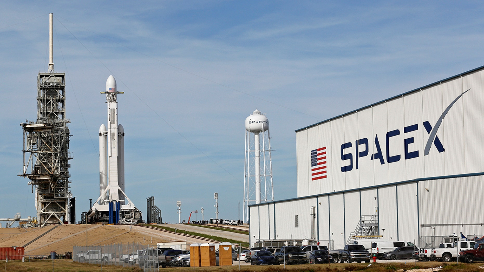A SpaceX Falcon Heavy rocket stands on historic launch pad 39A as it is readied for its first demonstration flight at the Kennedy Space Center in Cape Canaveral, Fla.