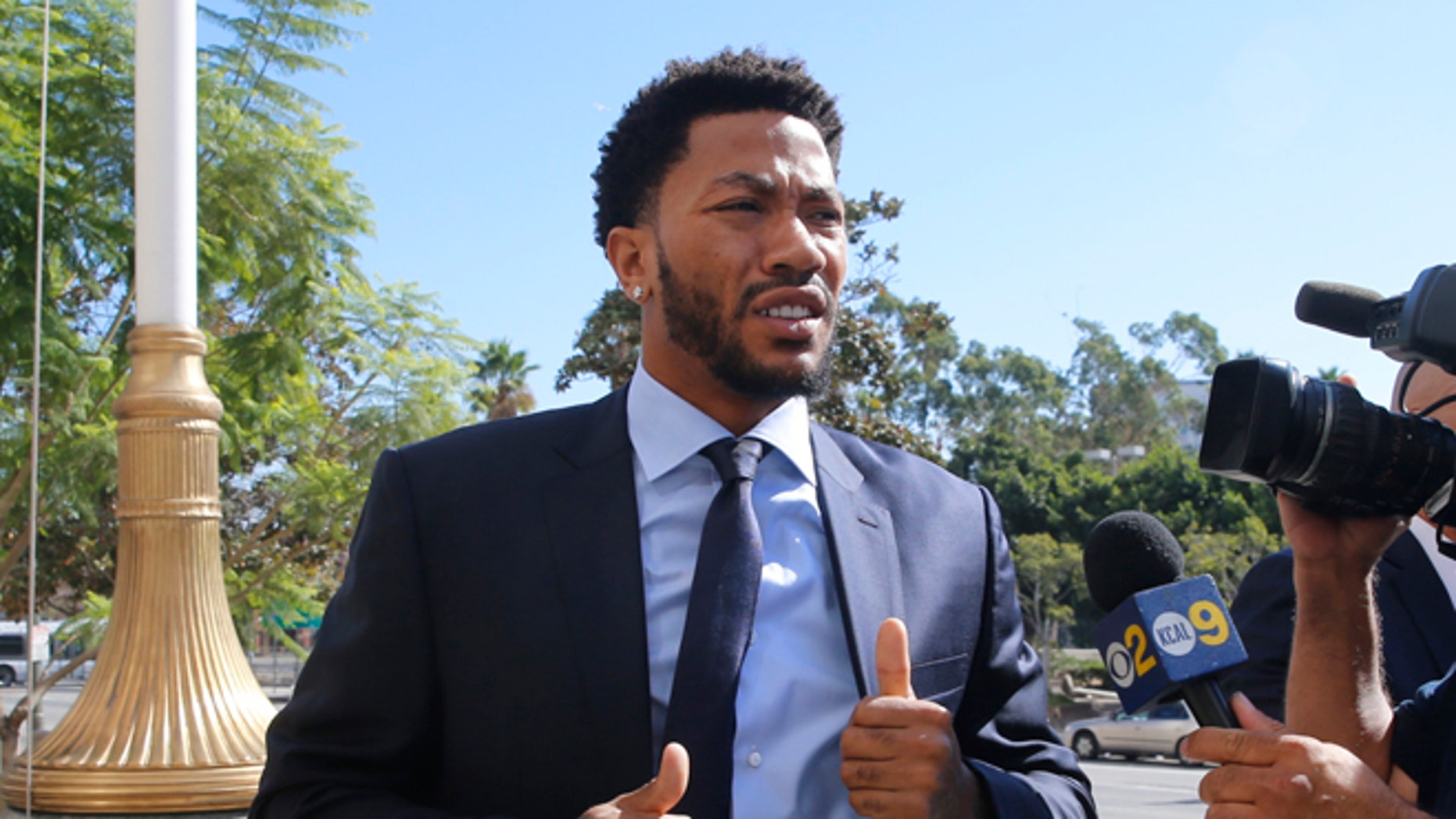 New York Knicks basketball player Derrick Rose.