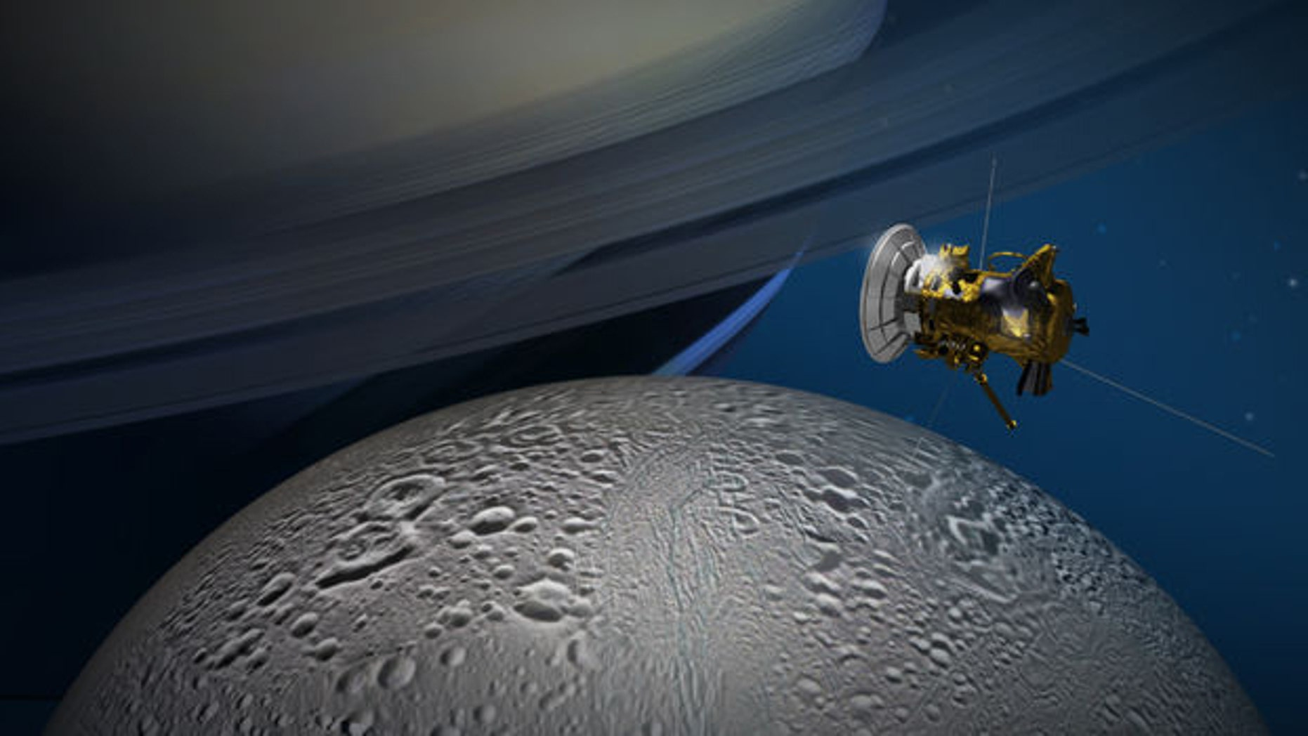NASA's Cassini spacecraft will get its best-ever look at the northernmost reaches of the Saturnian moon Enceladus on Oct. 14. (NASA/JPL-Caltech)