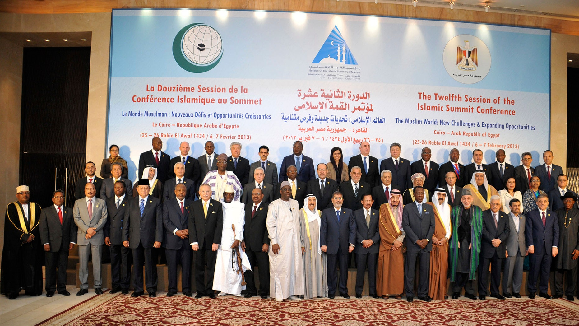 Feb. 6, 2013: In this photo released by the Egyptian Presidency, leaders of nations taking part in the Organization of Islamic Cooperation's two-day summit, which brings together leaders from across the Muslim world, pose for a group photograph in Cairo, Egypt.