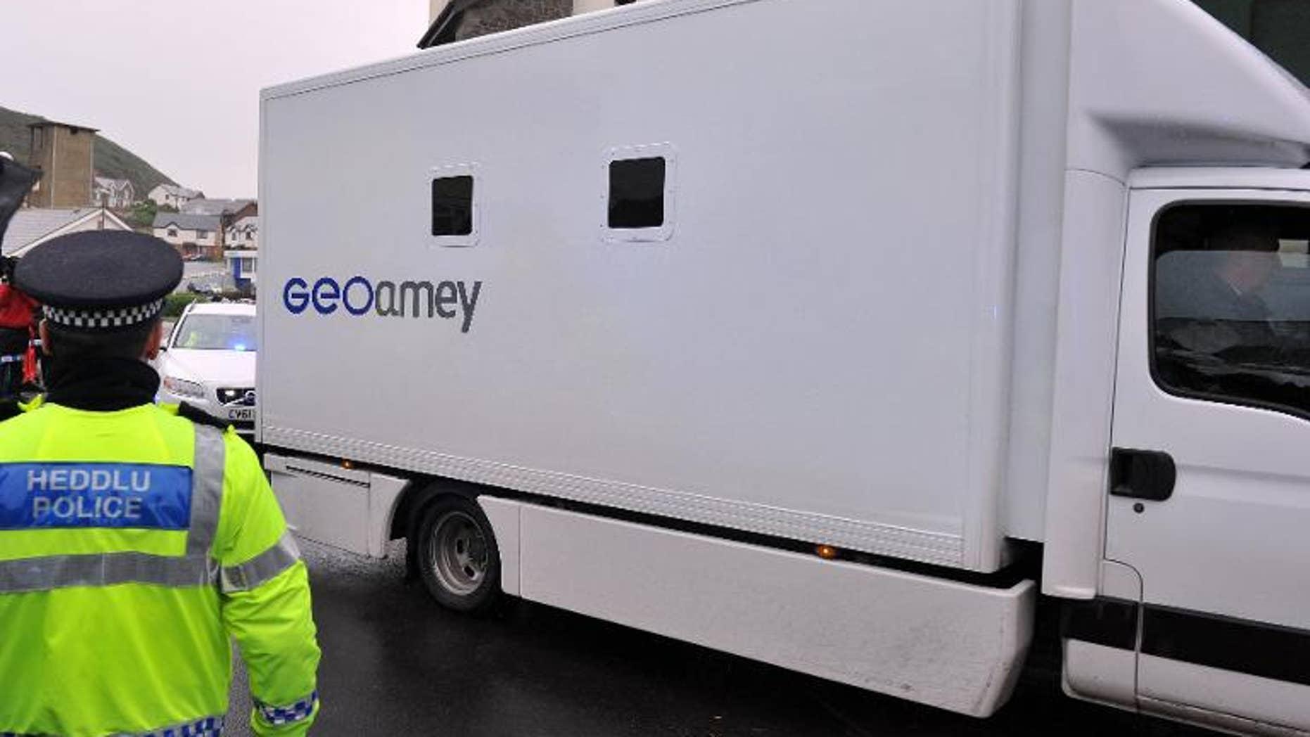 A prison van is seen in Wales on October 8, 2012.