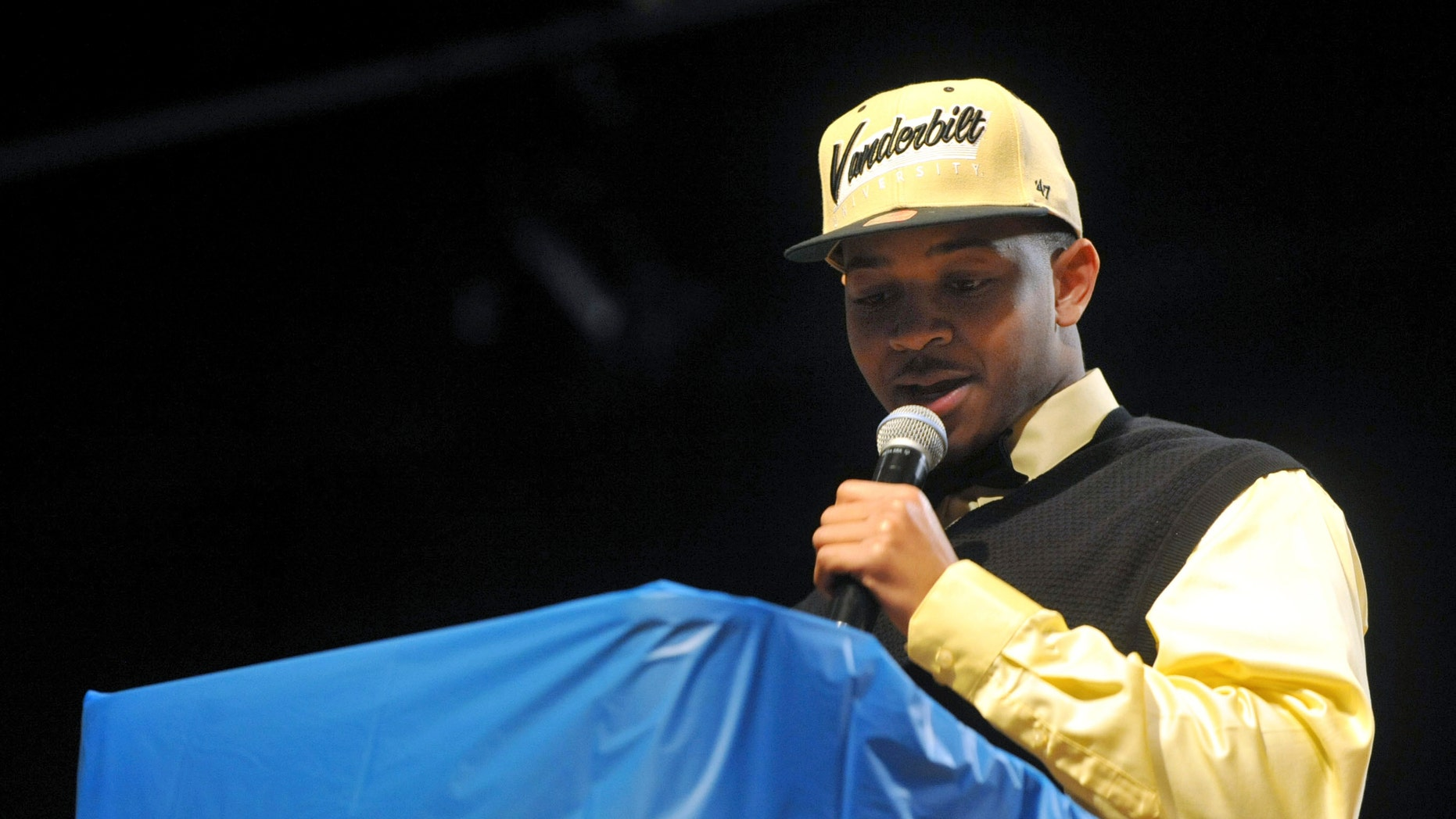Stephenson High School's Dallas Rivers announces he will be attending Vanderbilt University and play football, Wednesday Feb. 5, 2014, in Stone Mountain, Ga. (AP Photo/Atlanta Journal-Constitution, Kent D. Johnson) GWINNETT OUT  MARIETTA OUT  LOCAL TV OUT (WXIA, WGCL, FOX 5)