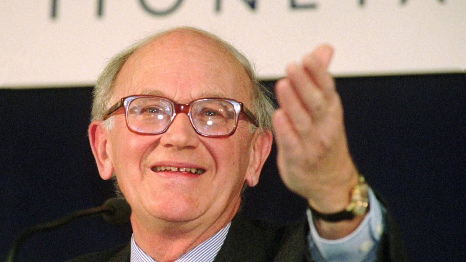 FILE - In this Jan. 10, 1997 file photo, President of the European Monetary Institute (EMI), Alexandre Lamfalussy attends a press conference in Frankfurt. Lamfalussy, who died on Monday, May 11, 2015 at the age of 86, headed the Frankfurt-based European Monetary Institute from 1994-97, laying the groundwork for the introduction of the euro and a supra-national central bank to manage the currency. (AP Photo/Bernd Kammerer, File)