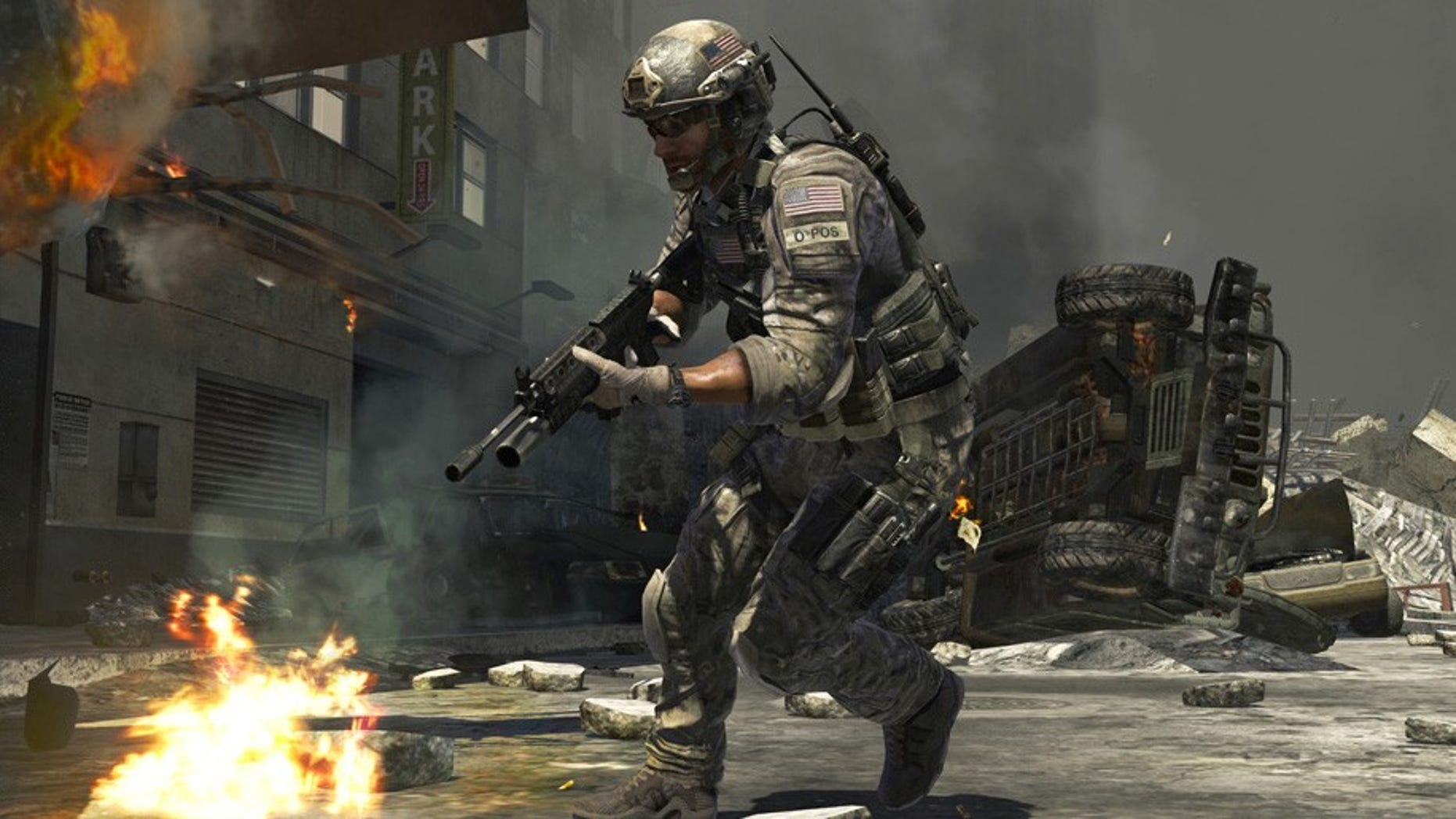"A scene from the popular video game ""Call of Duty: Modern Warfare 3."""
