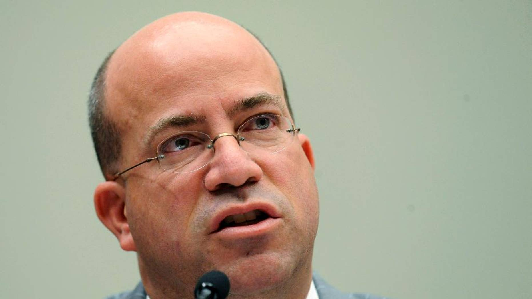 """FILE - In this Thursday, Feb. 25, 2010 file photo, Jeff Zucker testifies on Capitol Hill in Washington, during the House Judiciary Committee hearing on competition in the media and entertainment distribution market. Zucker, the president of CNN says it is """"shocking"""" to watch the political establishment's silence regarding President Donald Trump's attacks on the media, calling it an abdication of their responsibility.  (AP Photo/Susan Walsh, File)"""