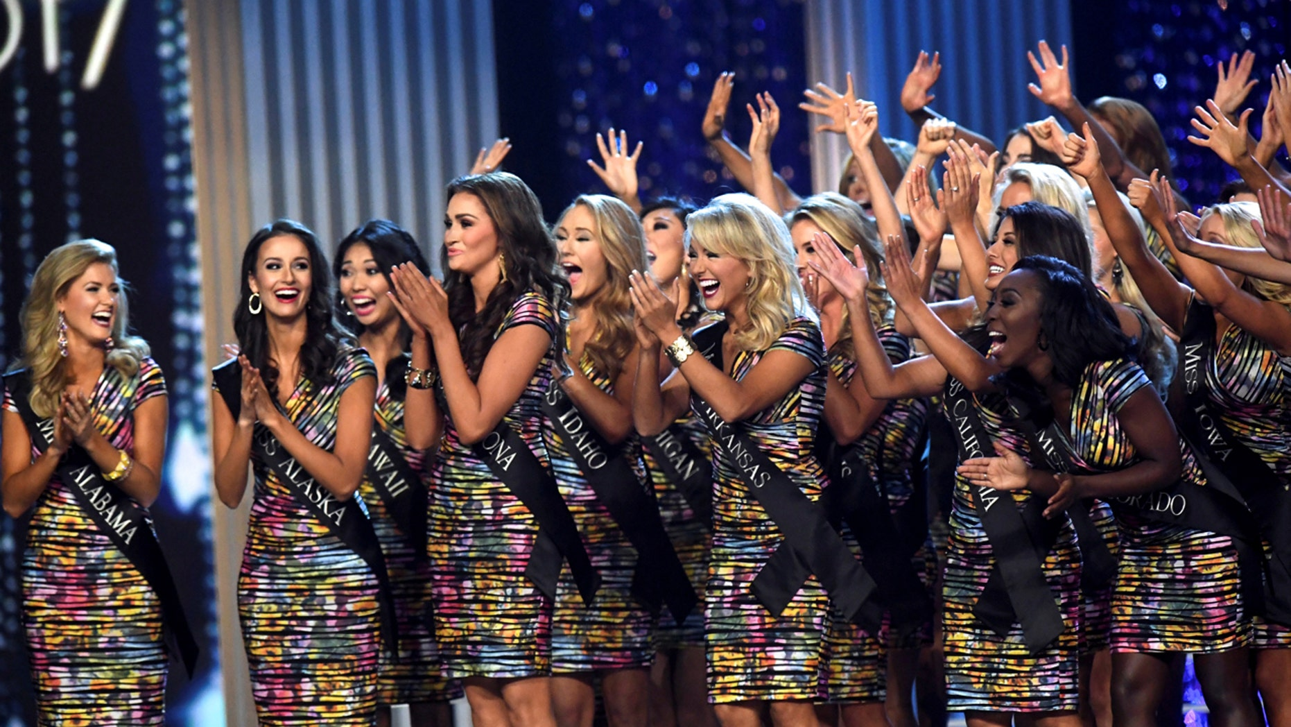 Contestants compete during the 96th Miss America Pageant at Boardwalk Hall in Atlantic City, N.J., Sept. 11, 2016.