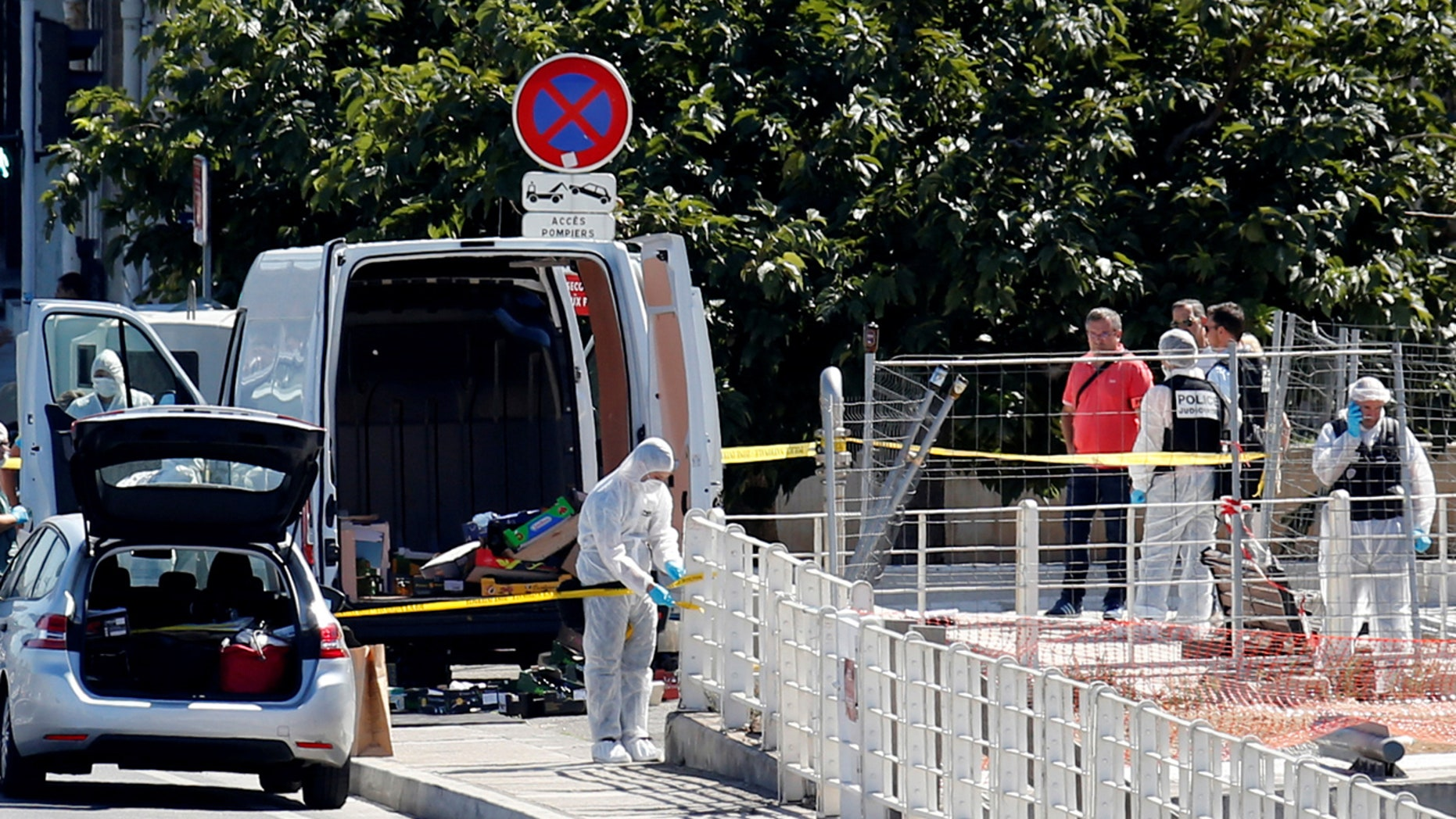 French police conduct an investigation in the French port city of Marseille after one person was killed in a vehicle ramming incident.