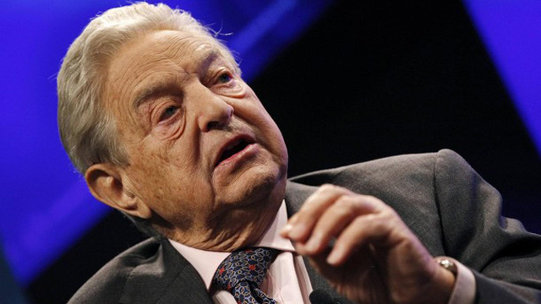 FILE: Billionaire financier George Soros speaks at a Reuters Newsmaker event in New York on Sept. 15, 2010.
