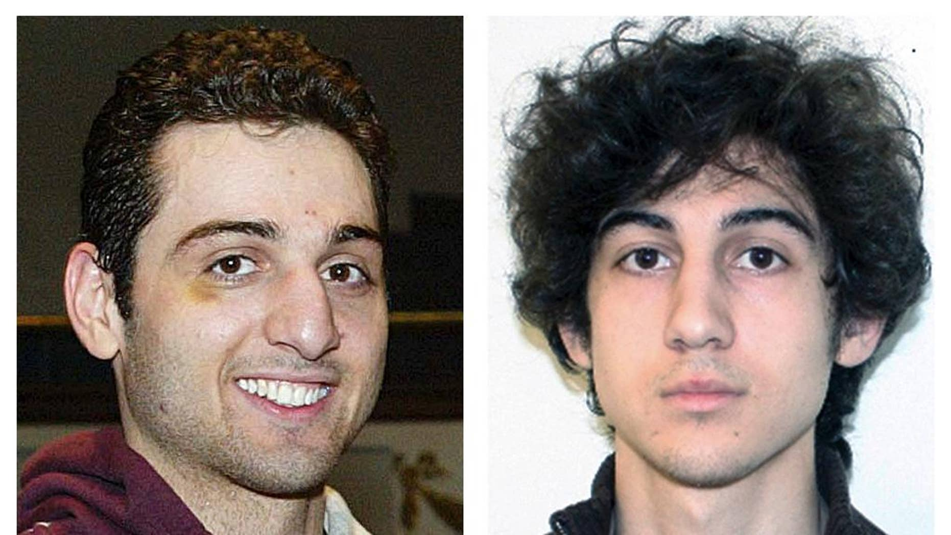 FILE - This combination of file photos shows brothers Tamerlan, left, and Dzhokhar Tsarnaev, suspects in the Boston Marathon bombings on April 15, 2013. A Friday, Oct. 10, 2014 filing by the defense says a prosecution witness against Dzhokhar Tsarnaev is prepared to testify that Tsarnaev knew his older brother Tamerlan was involved in a 2011 triple slaying, according to a filing by attorneys for the surviving brother. Tsarnaev has pleaded not guilty in the 2013 bombings that killed three people and injured about 260 others. (AP Photos/Lowell Sun and FBI, File)