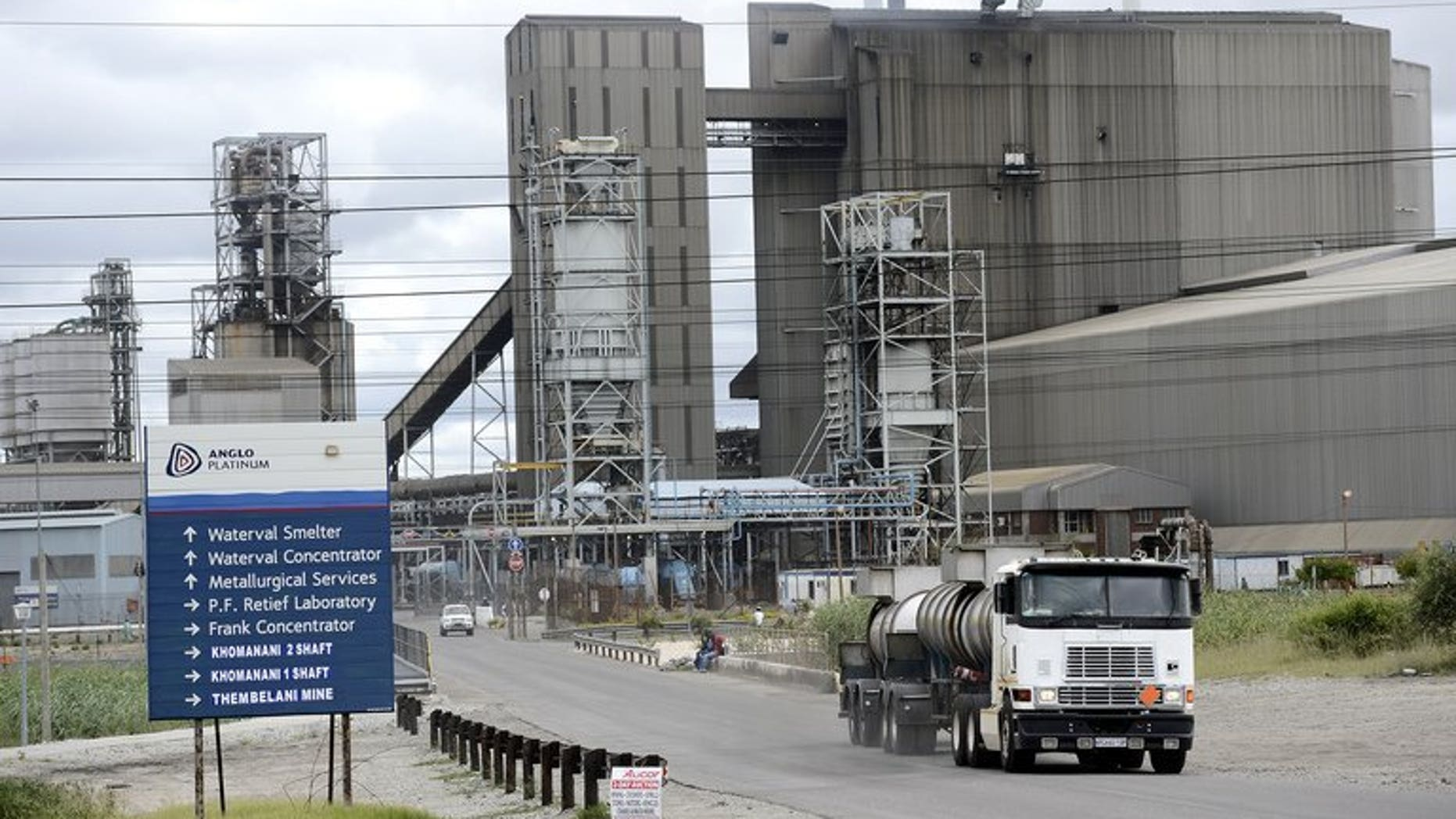 The Anglo American Platinum mine in Rustenburg, northwest of Johannesburg, on January 16. World number one platinum producer Amplats announced Monday it will begin firing an estimated 6,900 workers in South Africa on September 1.