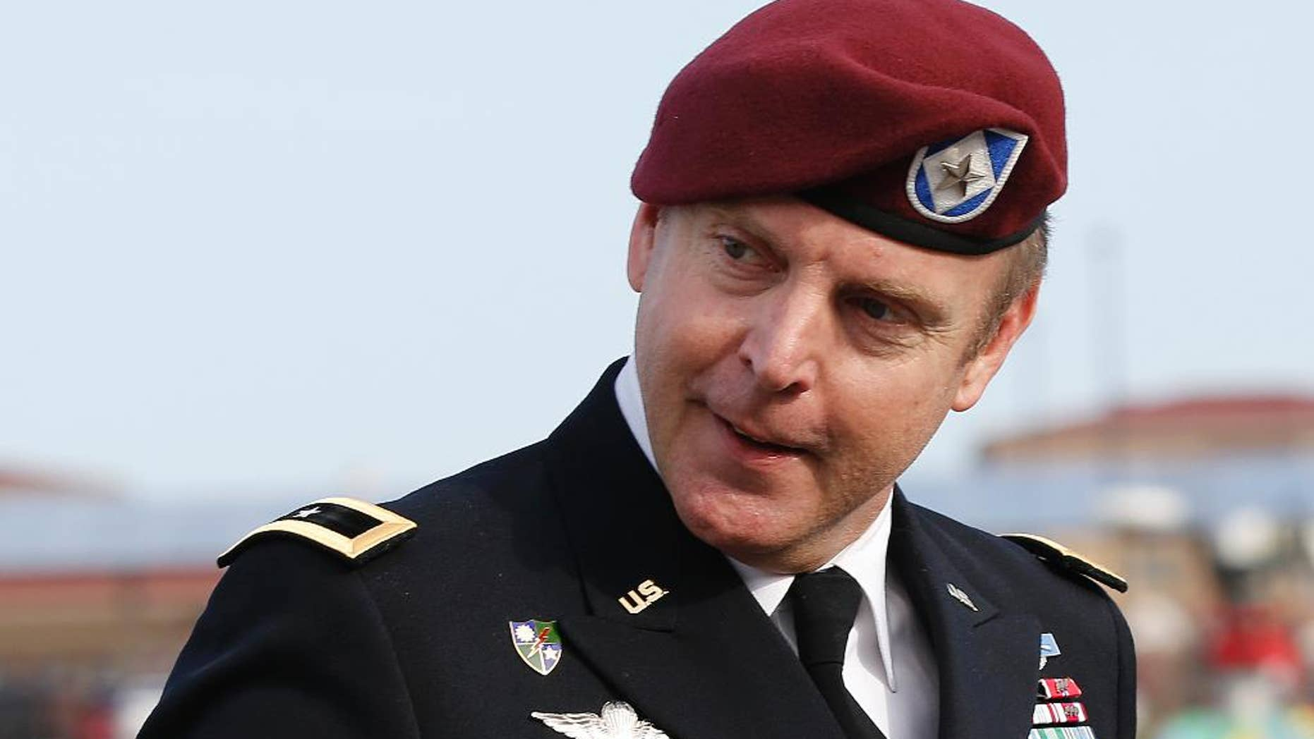 Brig. Gen. Jeffrey Sinclair, who admitted to inappropriate relationships with three subordinates, arrives at the courthouse for sentencing at Fort Bragg, N.C., Thursday, March 20, 2014.  Sinclair was reprimanded and docked $20,000 in pay Thursday, avoiding jail time in one of the U.S. military's most closely watched courts-martial.(AP Photo/Ellen Ozier)