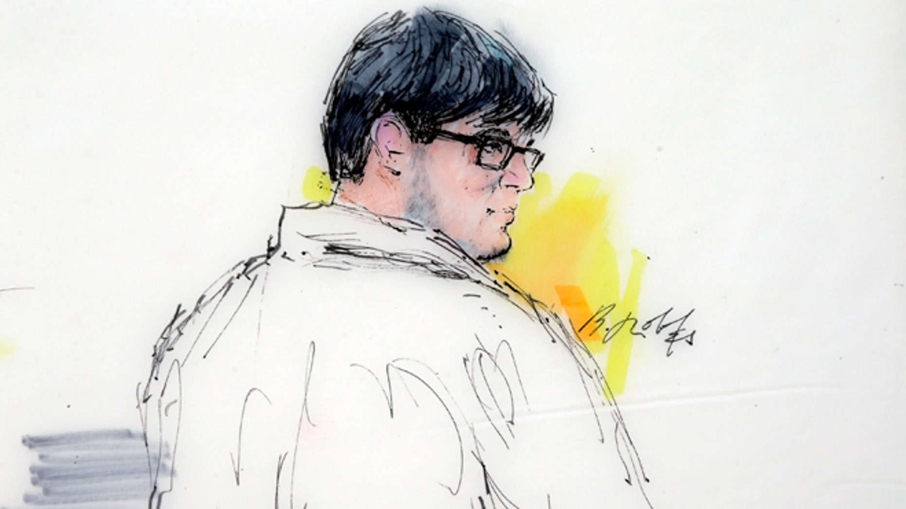FILE - In this Dec. 21, 2015, courtroom sketch, Enrique Marquez Jr. appears in federal court in Riverside, Calif. Marquez, a friend of one of the shooters in the San Bernardino massacre that killed 14 people, was indicted Wednesday, Dec. 30, on five charges that include conspiring in a pair of previous planned attacks and making false statements when he bought the guns used in this month's shootings, authorities said. (Bill Robles via AP, File)