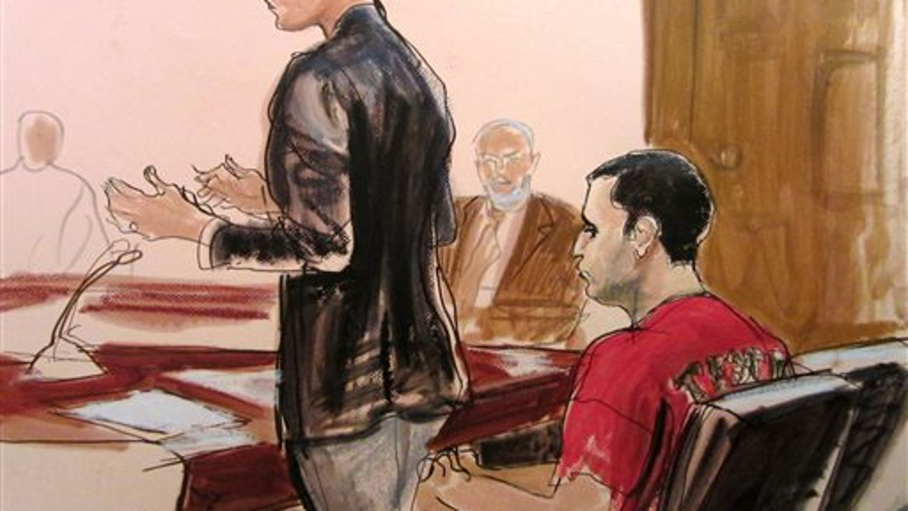 Courtroom drawing of federal defender Julia Gatto requesting bail for Officer Gilberto Valle, on Oct. 25, 2012.