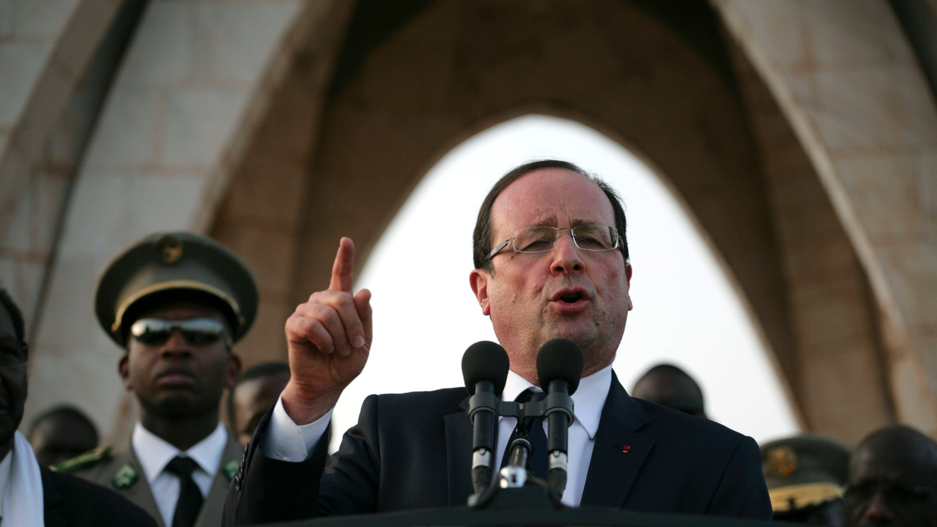 Feb. 2, 2013: French President Francois Hollande speaks at Independence Place in central Bamako, Mali.