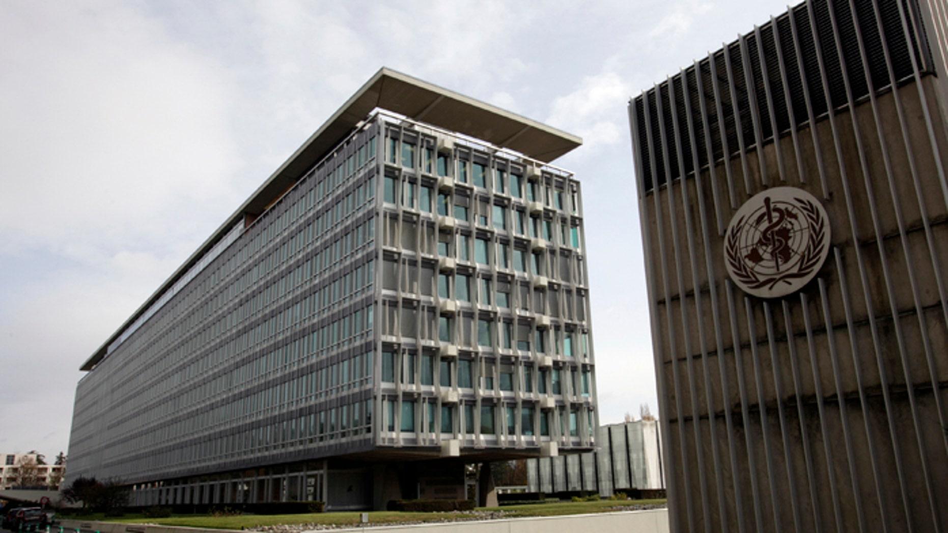 The World Health Organization (WHO) headquarters is seen in Geneva.