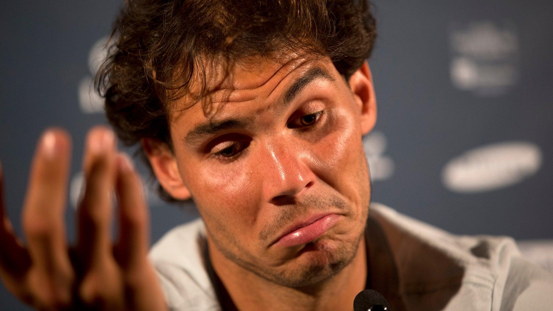 Rafael Nadal, of Spain, gestures during a press conference ahead of the Rio Open in Rio de Janeiro, Brazil, Friday, Feb. 13, 2015. The Rio Open tennis tournament starts Monday Feb. 16. (AP Photo/Silvia Izquierdo)