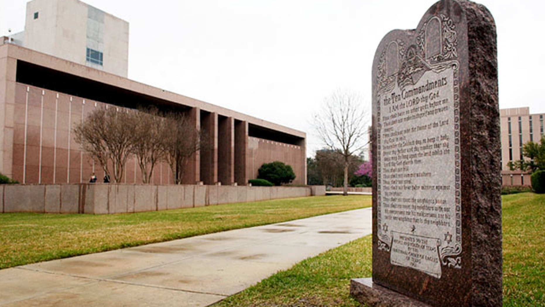 FILE: The American Civil Liberties Union of Oklahoma has filed a lawsuit seeking to force the removal of a Ten Commandments monument from state Capitol grounds in Oklahoma City.