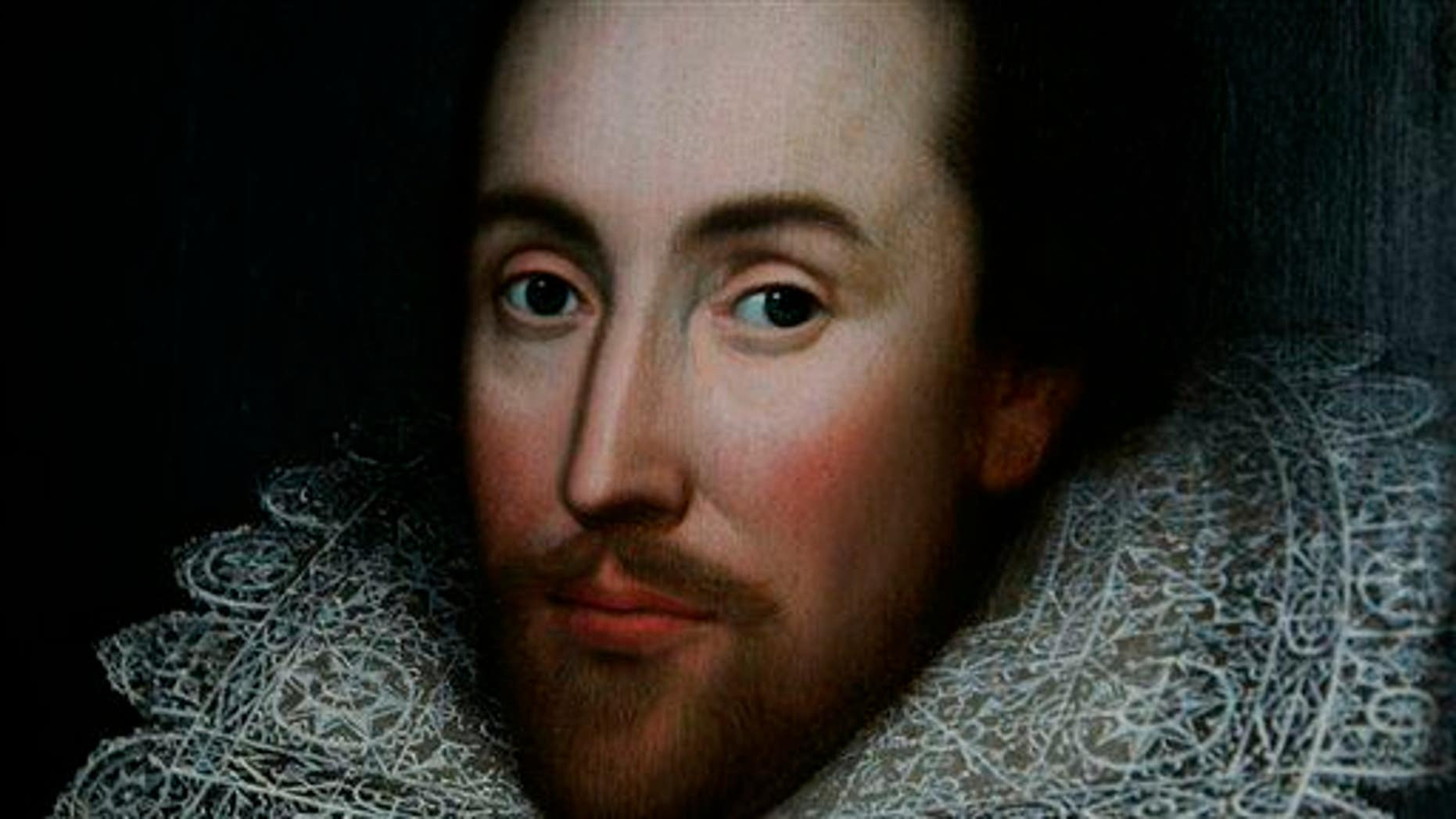 File - A detail of a portrait of William Shakespeare, presented by the Shakespeare Birthplace trust, is seen in central London, Monday March 9, 2009. (AP Photo/Lefteris Pitarakis)