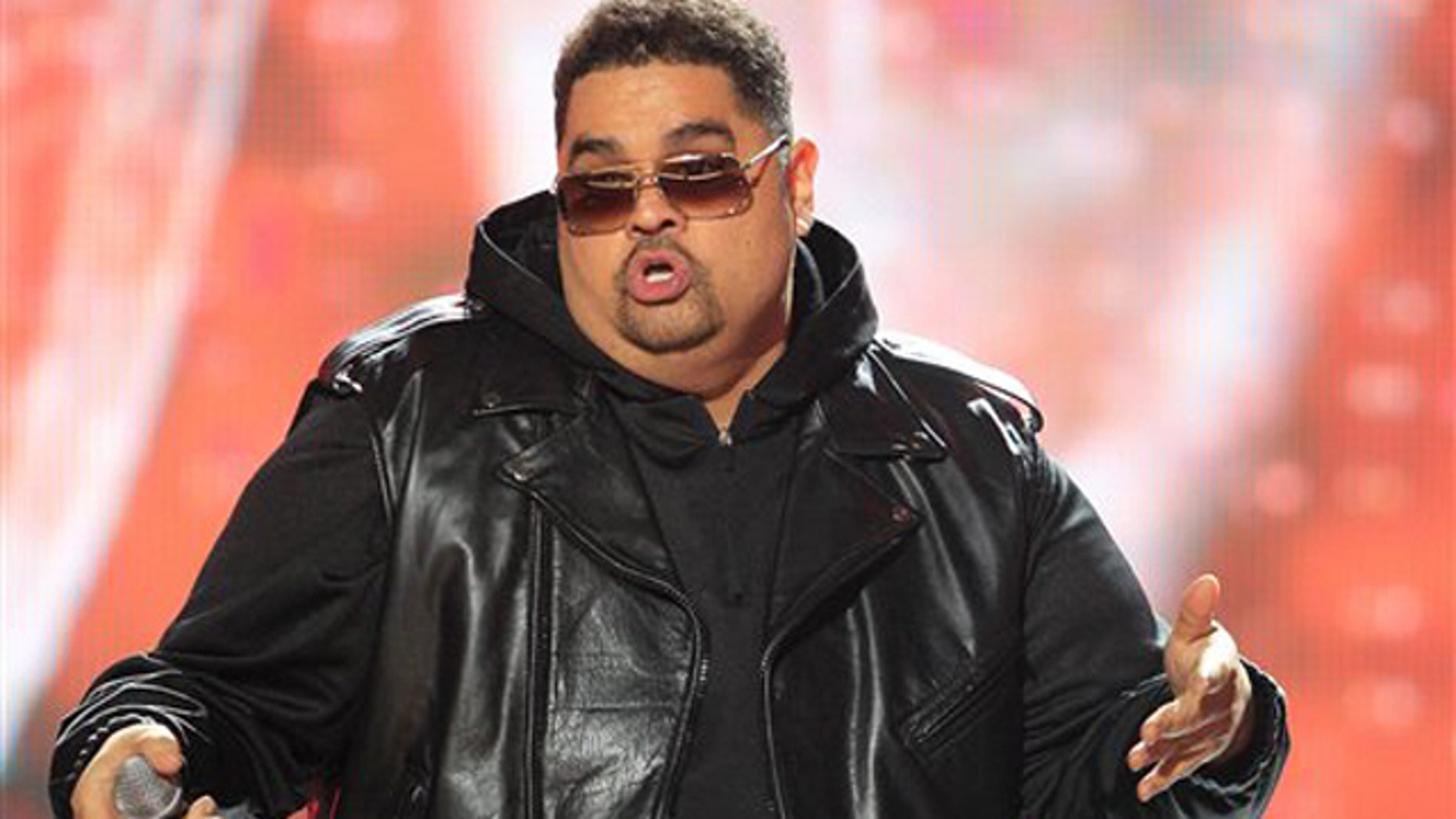 In this Oct. 1, 2011 photo, rapper Heavy D, also known as Dwight Arrington Myers, performs during the BET Hip Hop Awards in Atlanta.