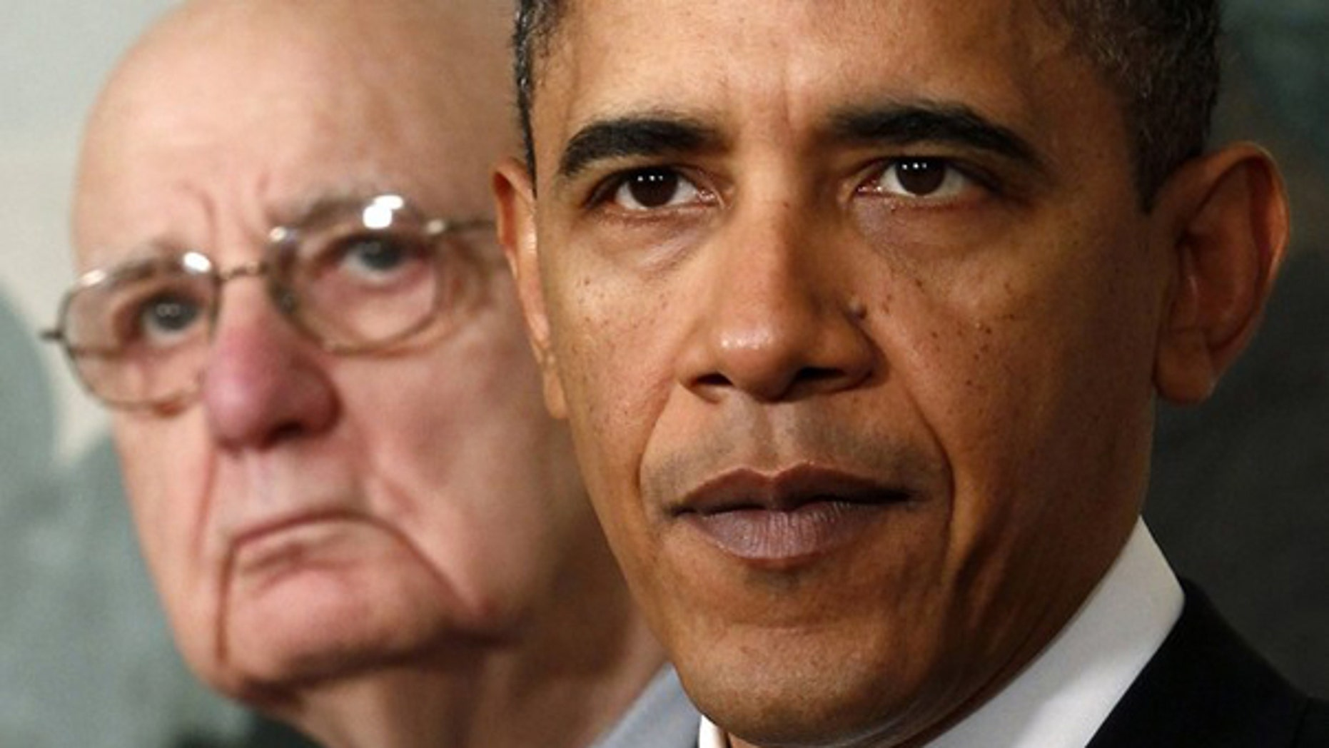In this January 21, 2010 file photo, President Obama speaks about financial reform after his meeting with Presidential Economic Recovery Advisory Board Chair Paul Volcker at the White House. (Reuters)