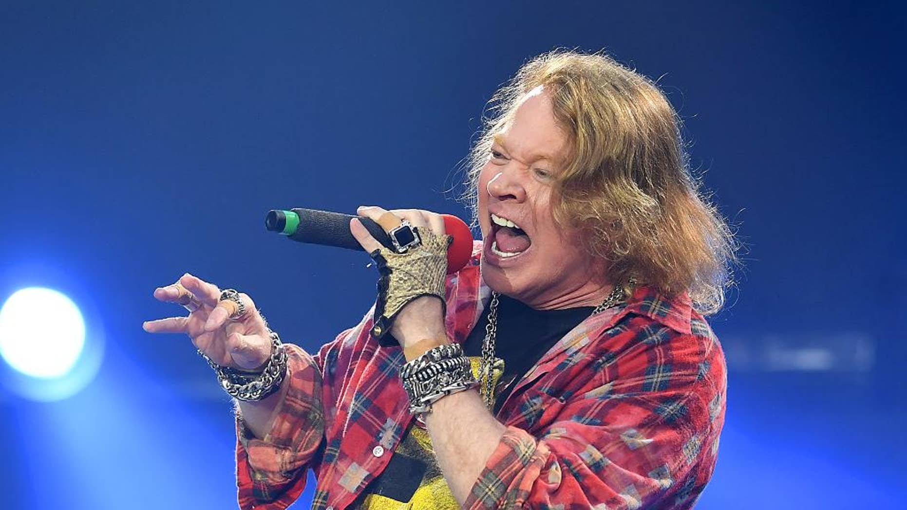 Axl Rose of the band AC/DC performs at the Olympic Stadium in London, Saturday, June 4, 2016. (Photo by Mark Allan/Invision/AP)-
