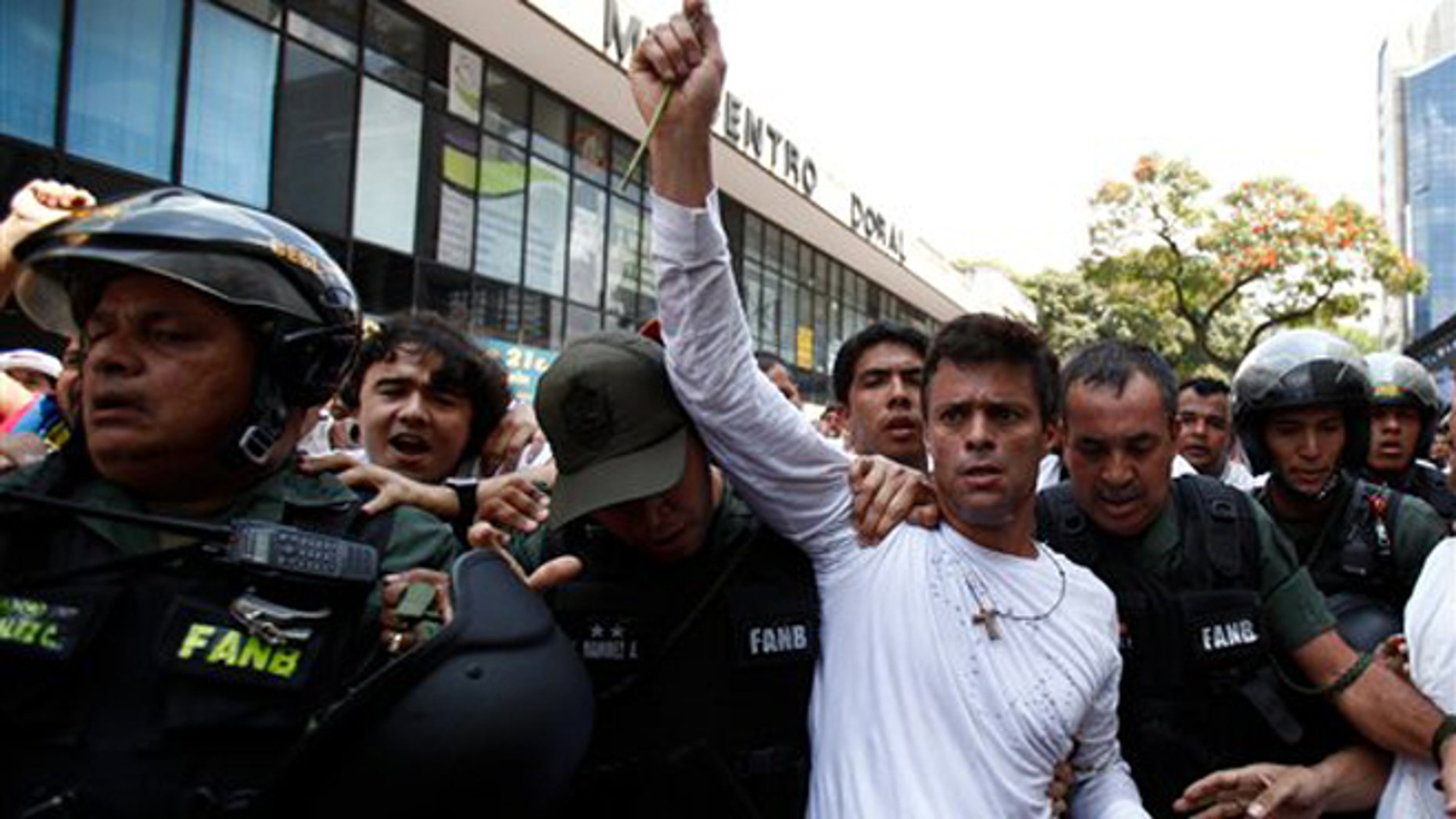 Opposition leader Leopoldo Lopez, dressed in white and holding up a flower stem, is taken into custody by Bolivarian National Guards, in Caracas, Venezuela, Tuesday, Feb 18, 2014. Lopez re-emerged from days of hiding to address an anti-government demonstration and then he turned himself in to authorities Tuesday. Speaking to some 5,000 supporters with a megaphone, Lopez said that he doesn't fear going to jail to defend his beliefs and constitutional right to peacefully protest against President Nicolas Maduro. (AP Photo/Alejandro Cegarra)