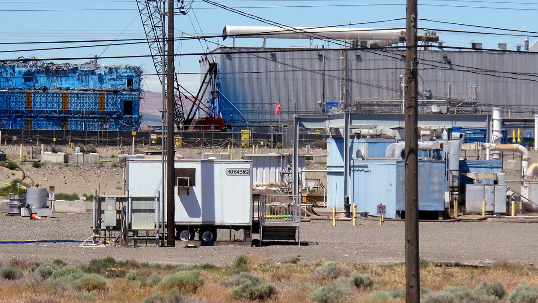 This May 13, 2017, photo shows a portion of the Plutonium Finishing Plant on the Hanford Nuclear Reservation near Richland, Wash.