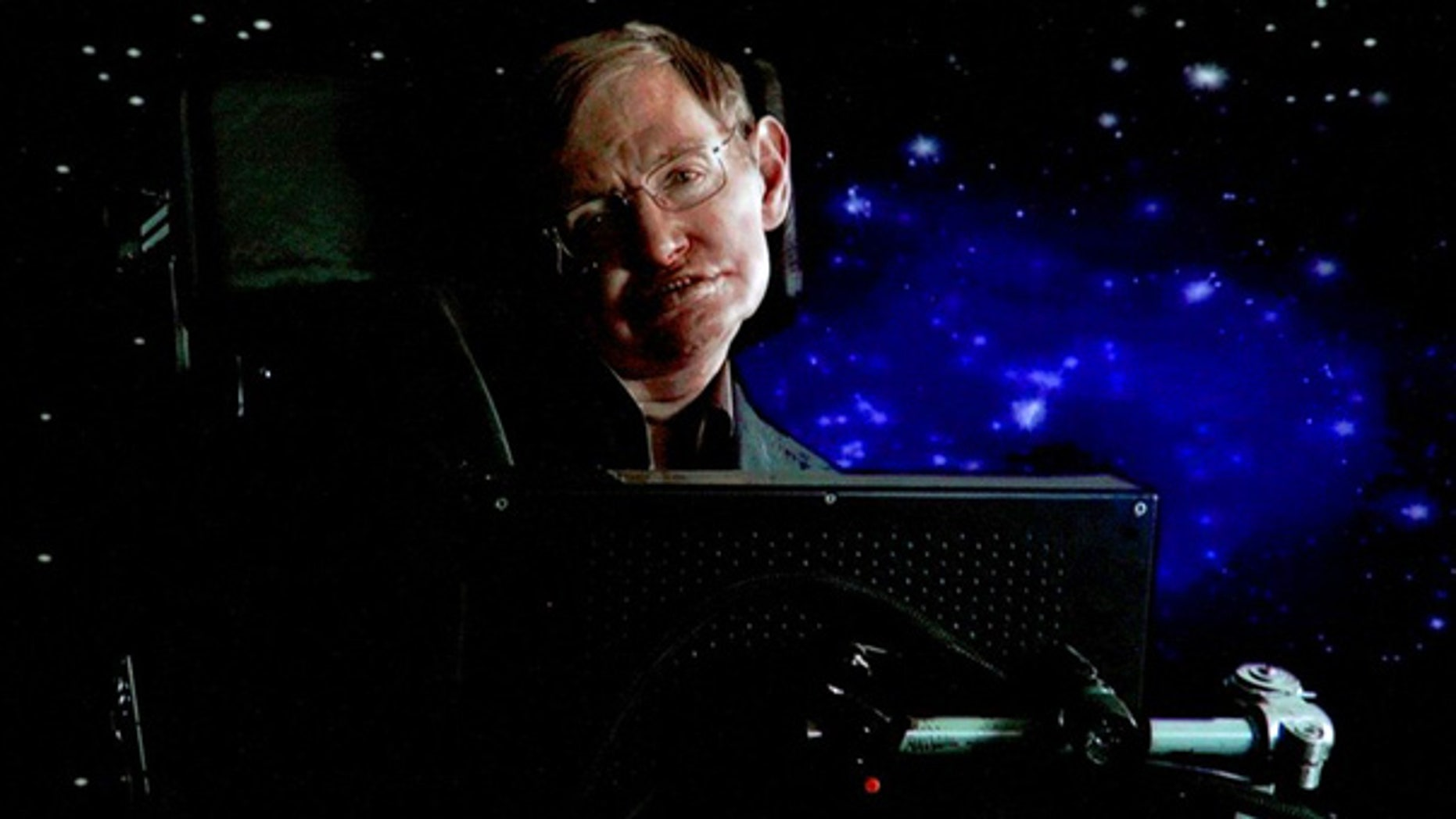 Stephen Hawking speaks via satellite during a Science Channel presentation in Pasadena, Calif.