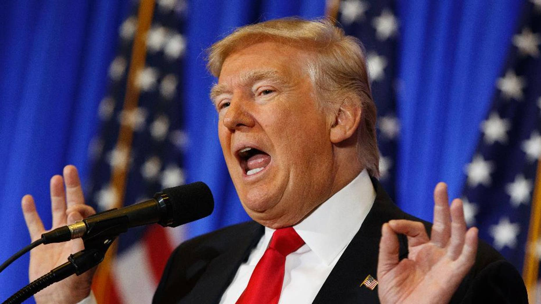 President-elect Donald Trump speaks during a news conference in the lobby of Trump Tower in New York, Wednesday, Jan. 11, 2017, in New York. (AP Photo/Evan Vucci)